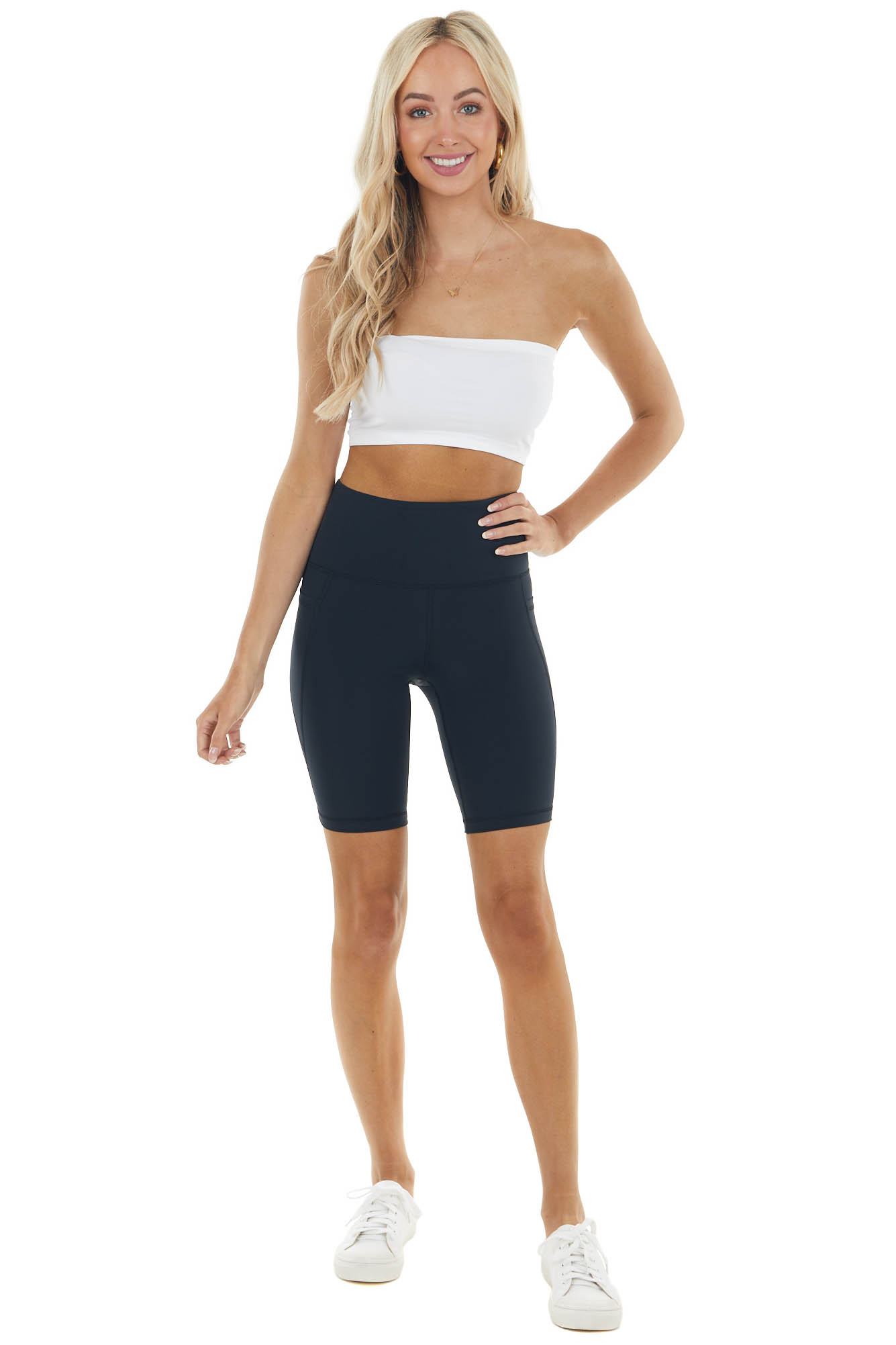 Black Super Stretchy High Waisted Biker Shorts with Pockets