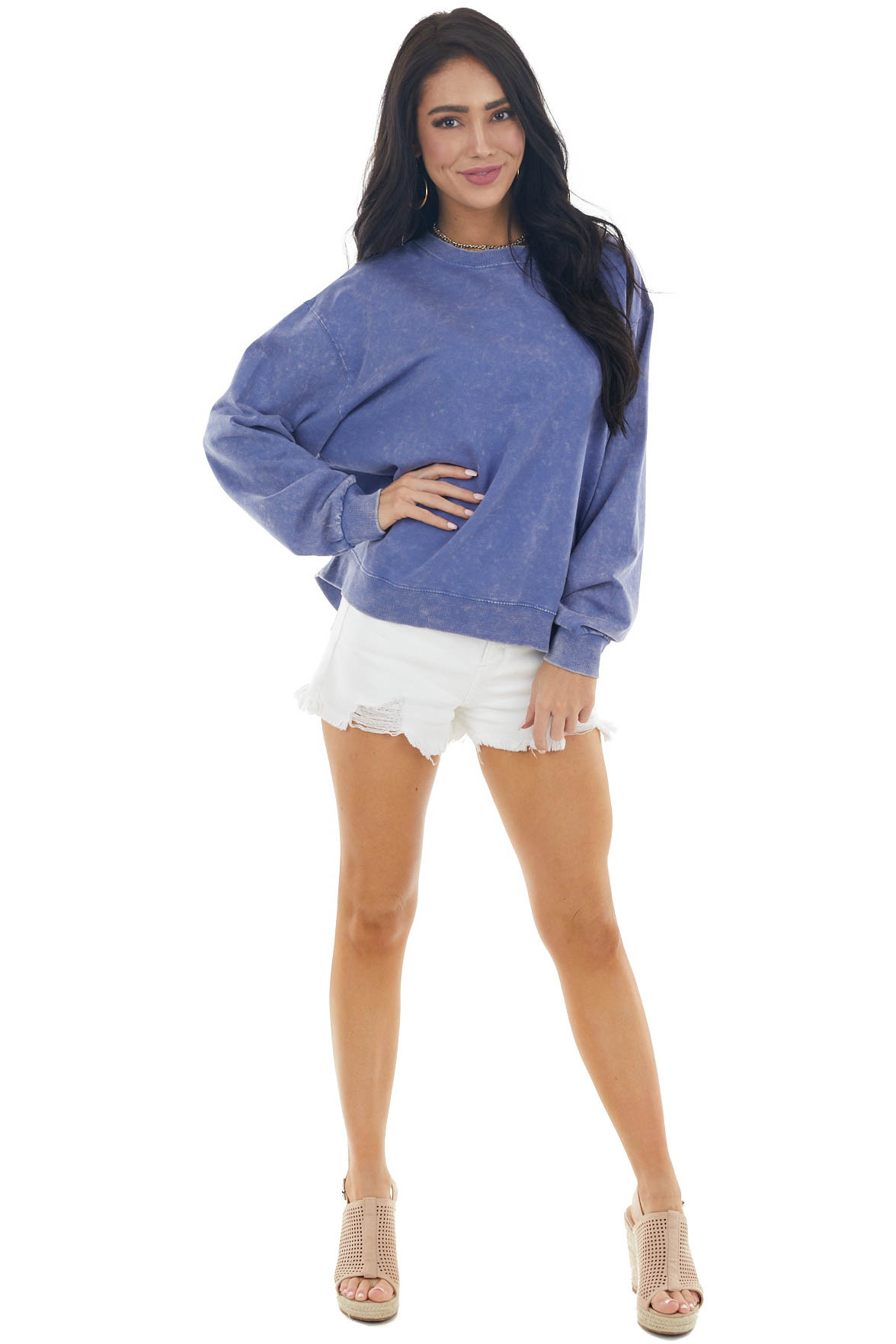 Cornflower Mineral Wash Knit Sweatshirt with Ribbed Trim