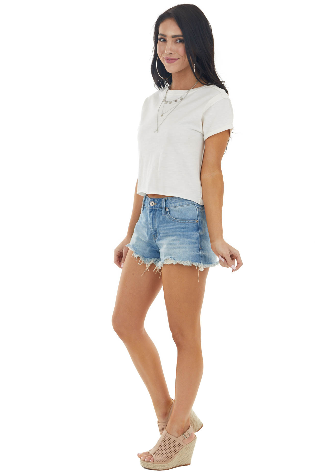 Cream Short Sleeve Knit Cropped Tee with Raw Edges