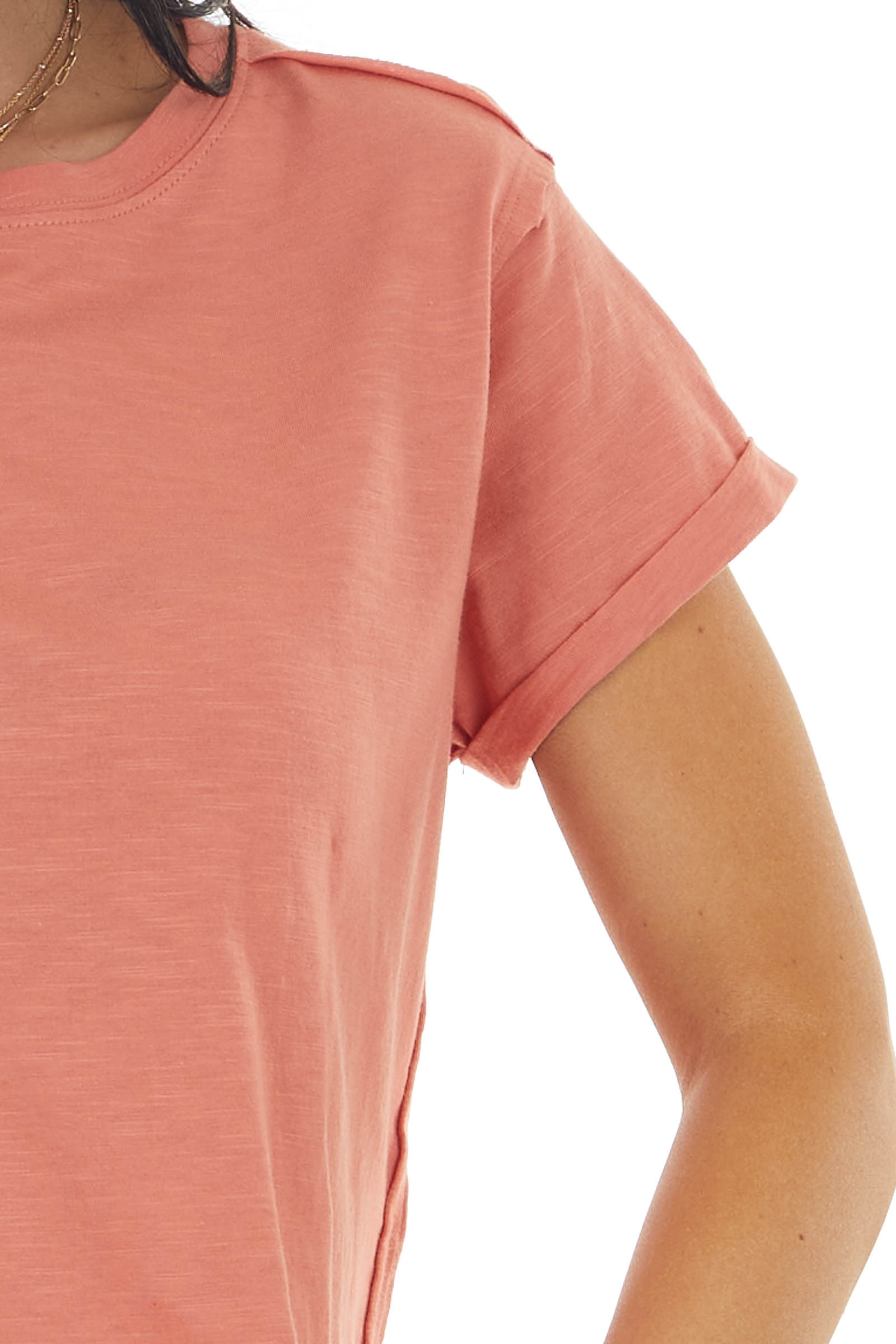 Marmalade Short Sleeve Knit Cropped Tee with Raw Edges