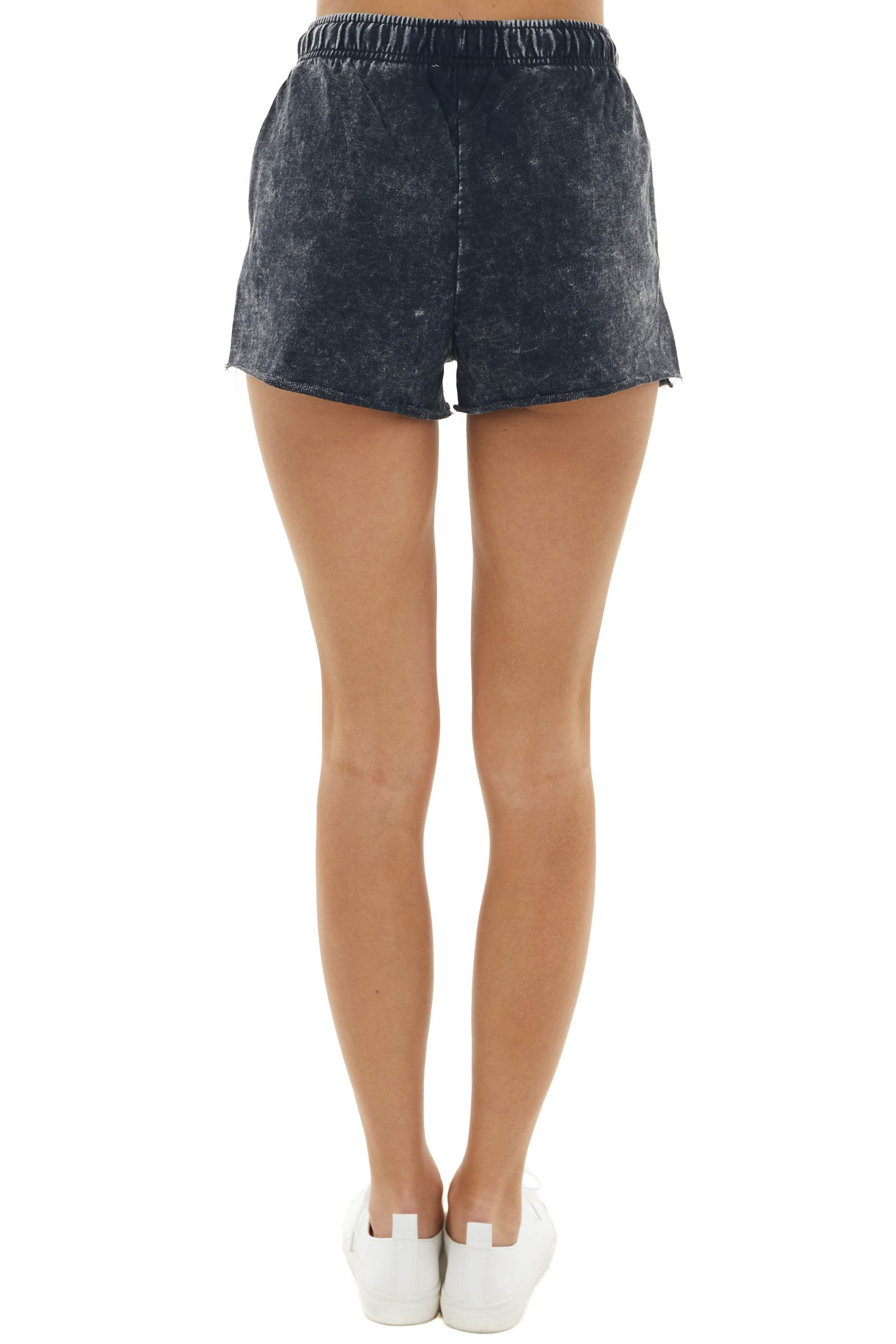 Black Mineral Wash Raw Hem Drawstring Shorts with Pockets
