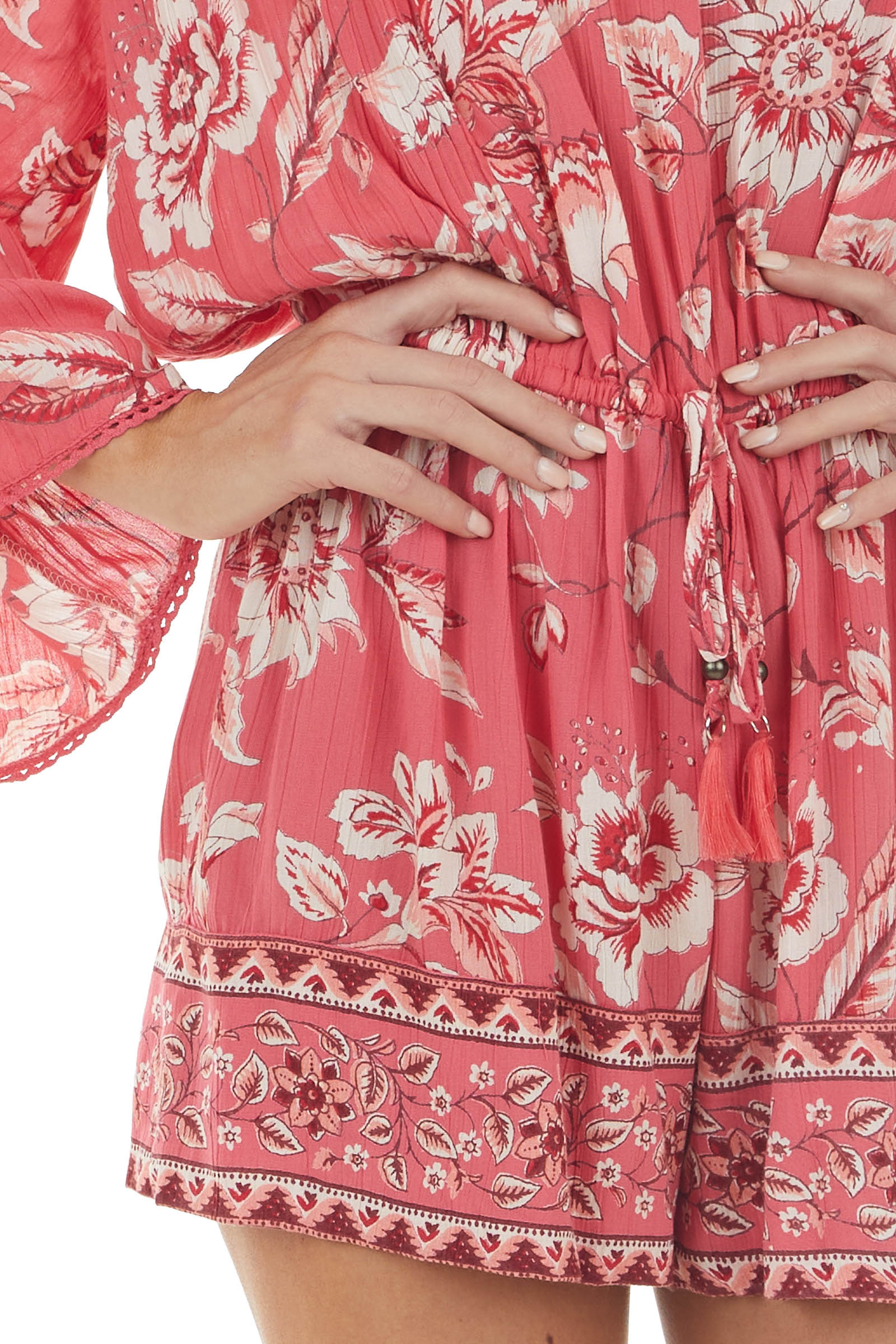 Hibiscus Floral Print Bell Sleeve Cinch Waist Woven Romper