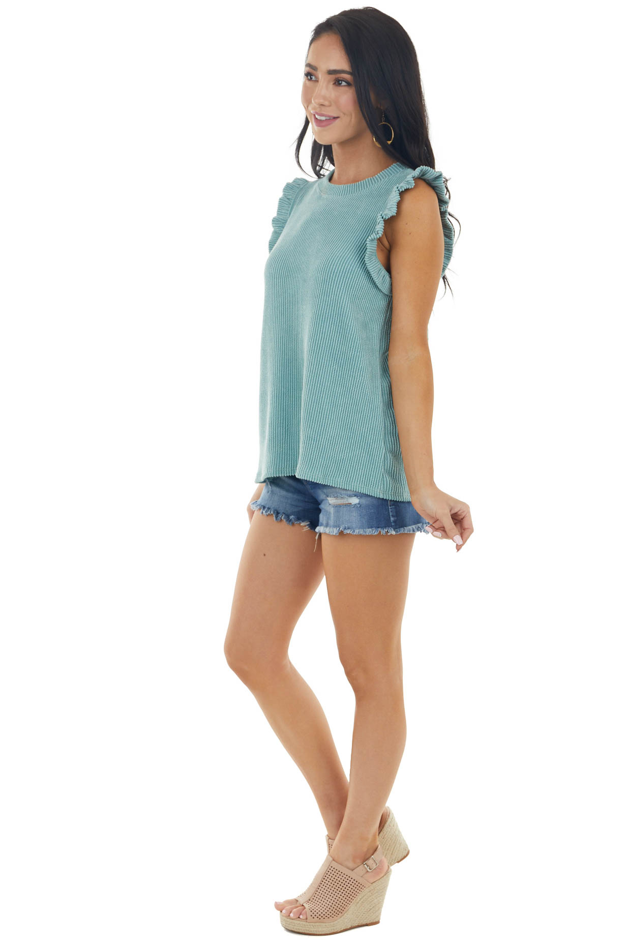 Vintage Juniper Sleeveless Ribbed Knit Top with Ruffles