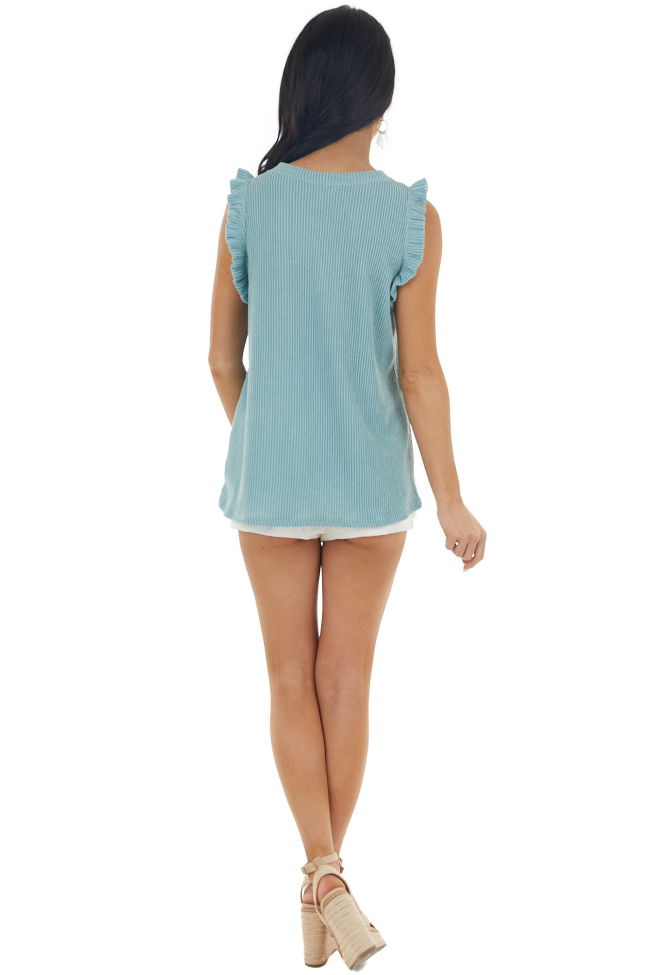Vintage Teal Sleeveless Ribbed Knit Top with Ruffles
