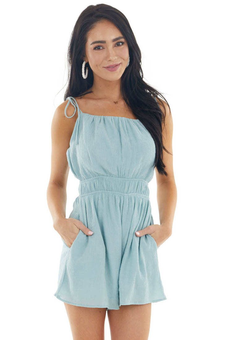 Sky Blue Textured Sleeveless Romper with Adjustable Straps