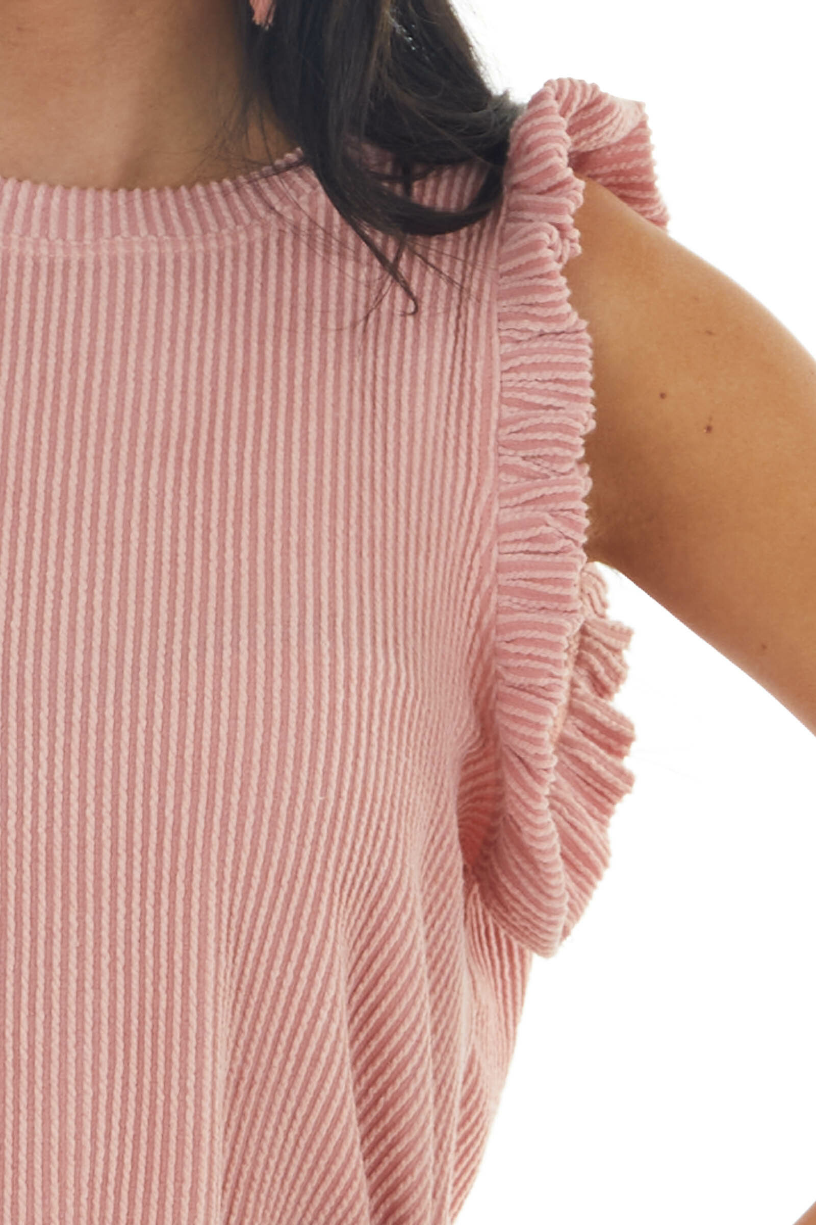 Vintage Punch Sleeveless Ribbed Knit Top with Ruffles