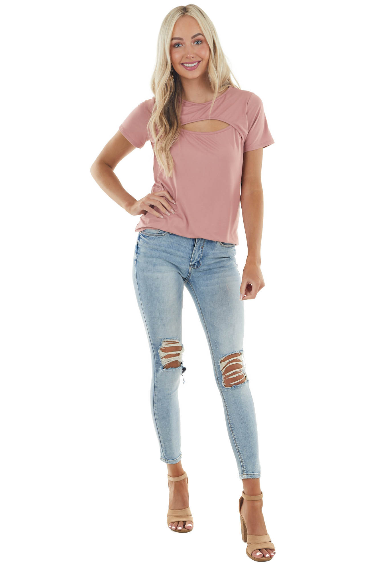 Dusty Rose Short Sleeve Soft Knit Top with Chest Cut Out
