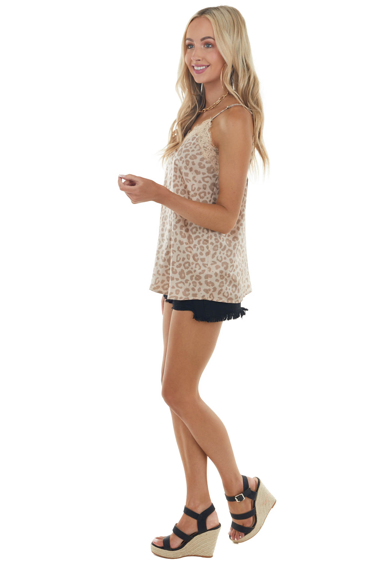 Latte Leopard Print Sleeveless Top with Lace Trim Details