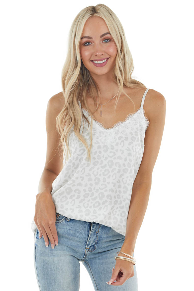 Ivory Leopard Print Sleeveless Top with Lace Trim Details