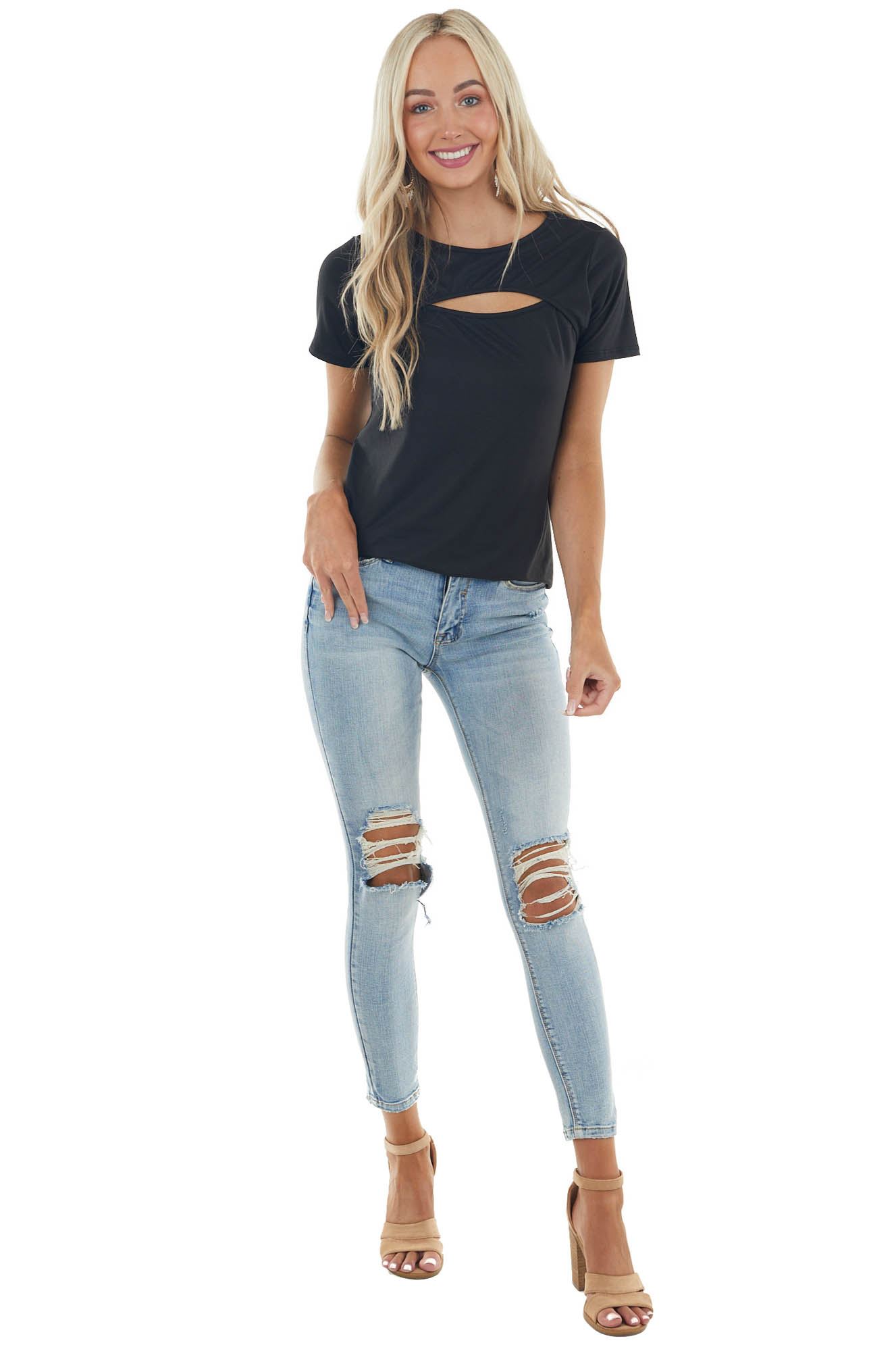 Black Short Sleeve Soft Knit Top with Chest Cut Out