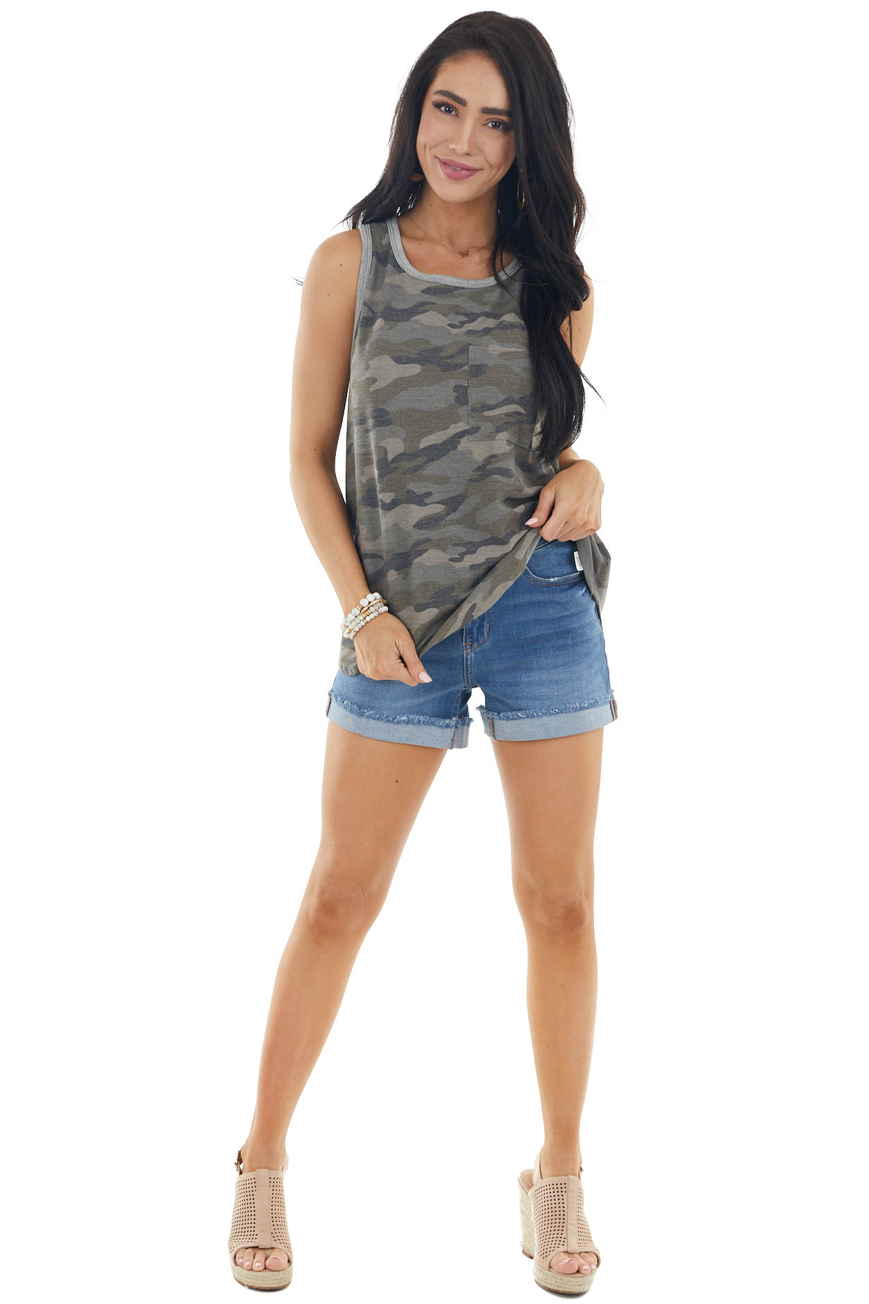 Army Green Camo Print Sleeveless Knit Top with Chest Pocket