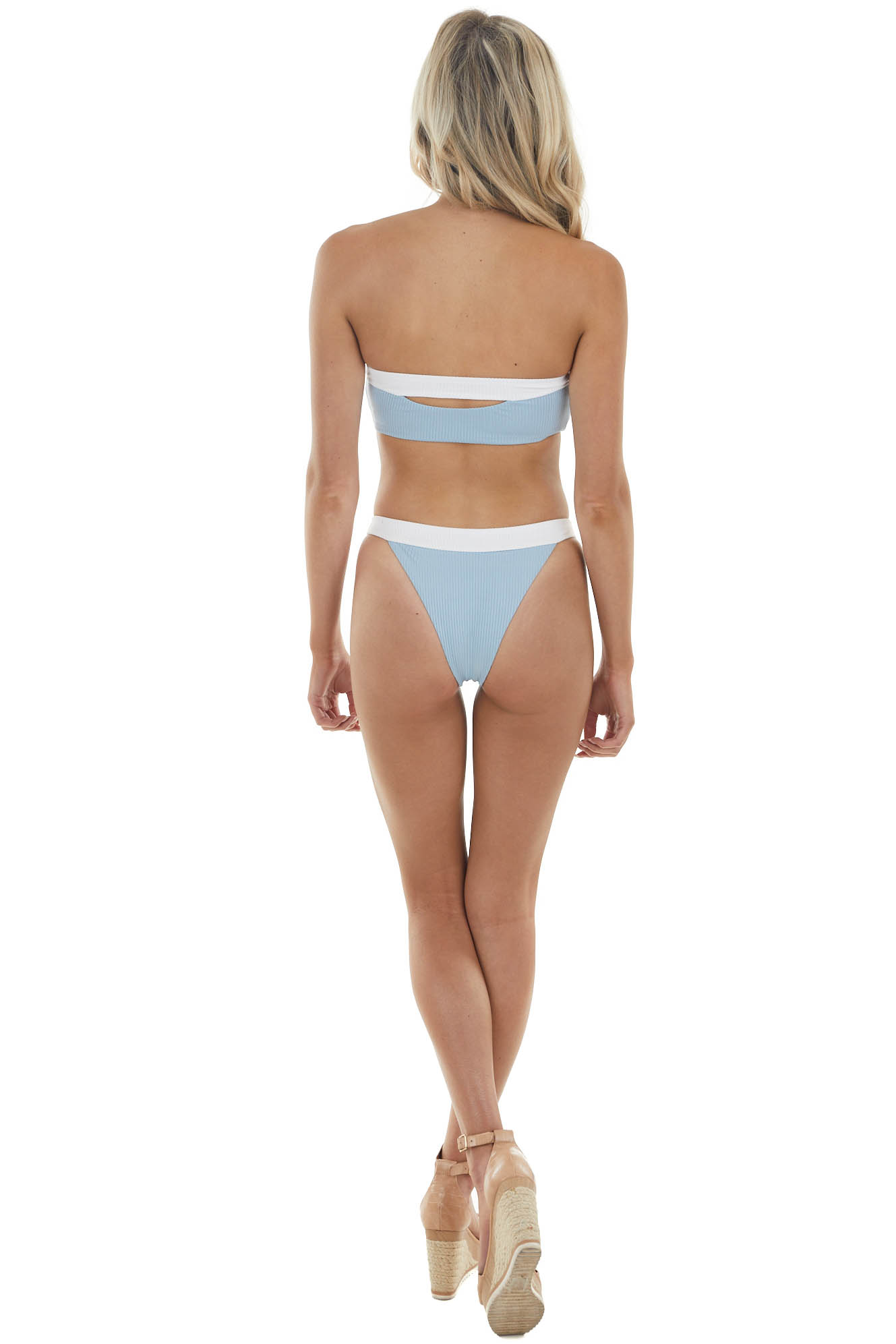 Powder Blue and White Ribbed Knit Cut Out Strapless Bikini