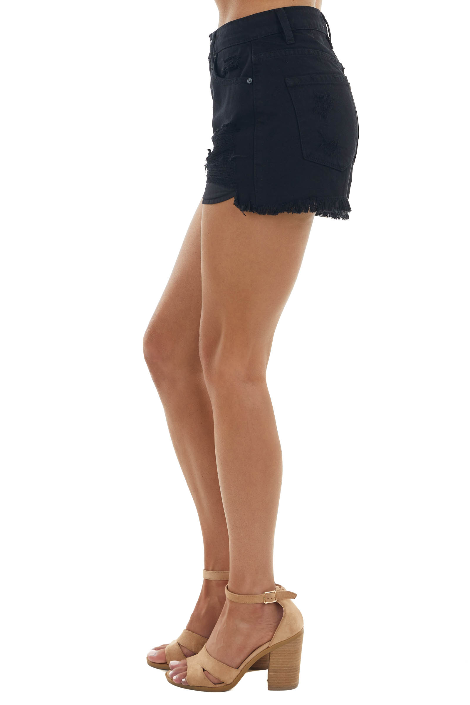 Black High Rise Jean Shorts with Distressed Details