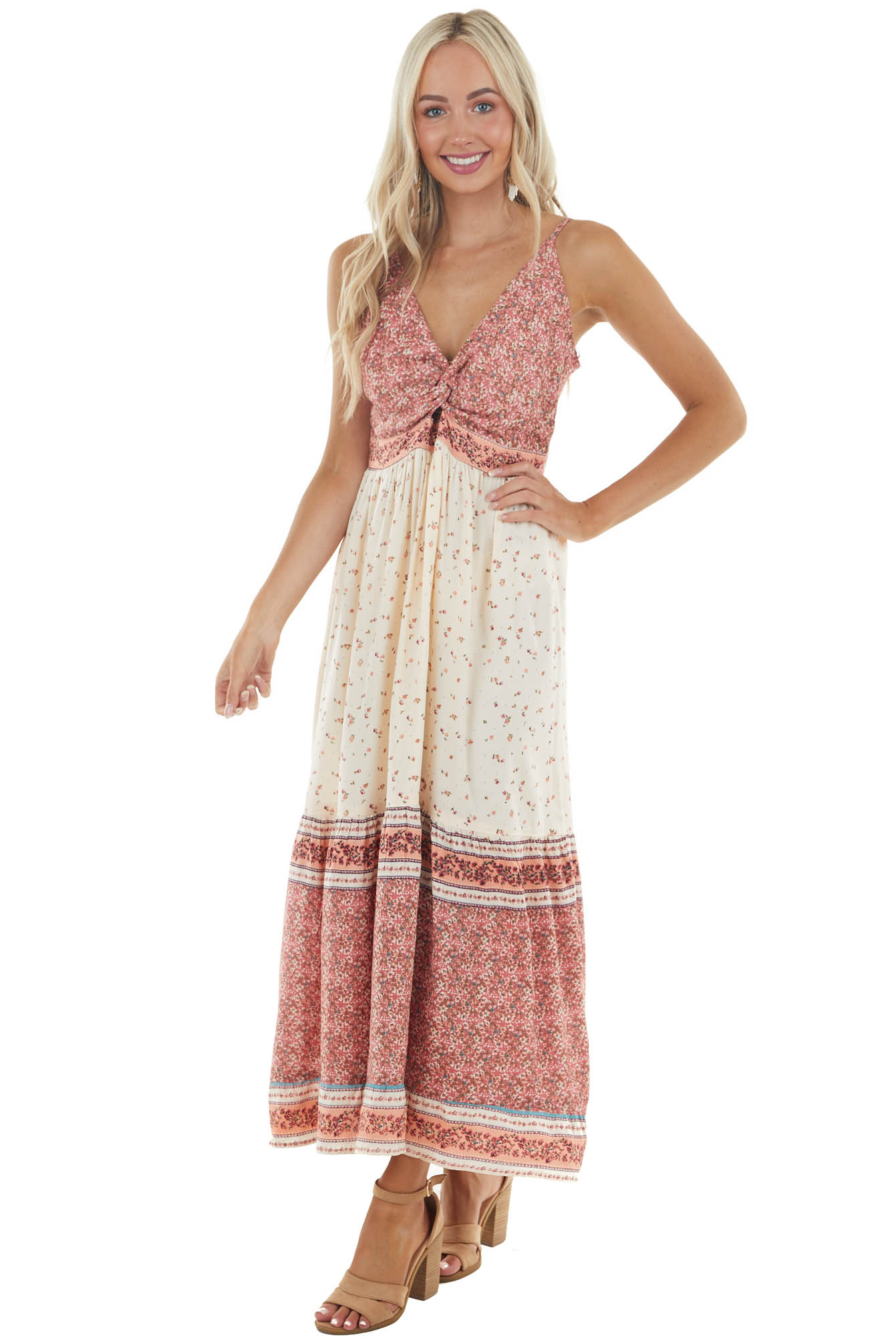 Dusty Rose and Desert Sand Floral Print Woven Maxi Dress