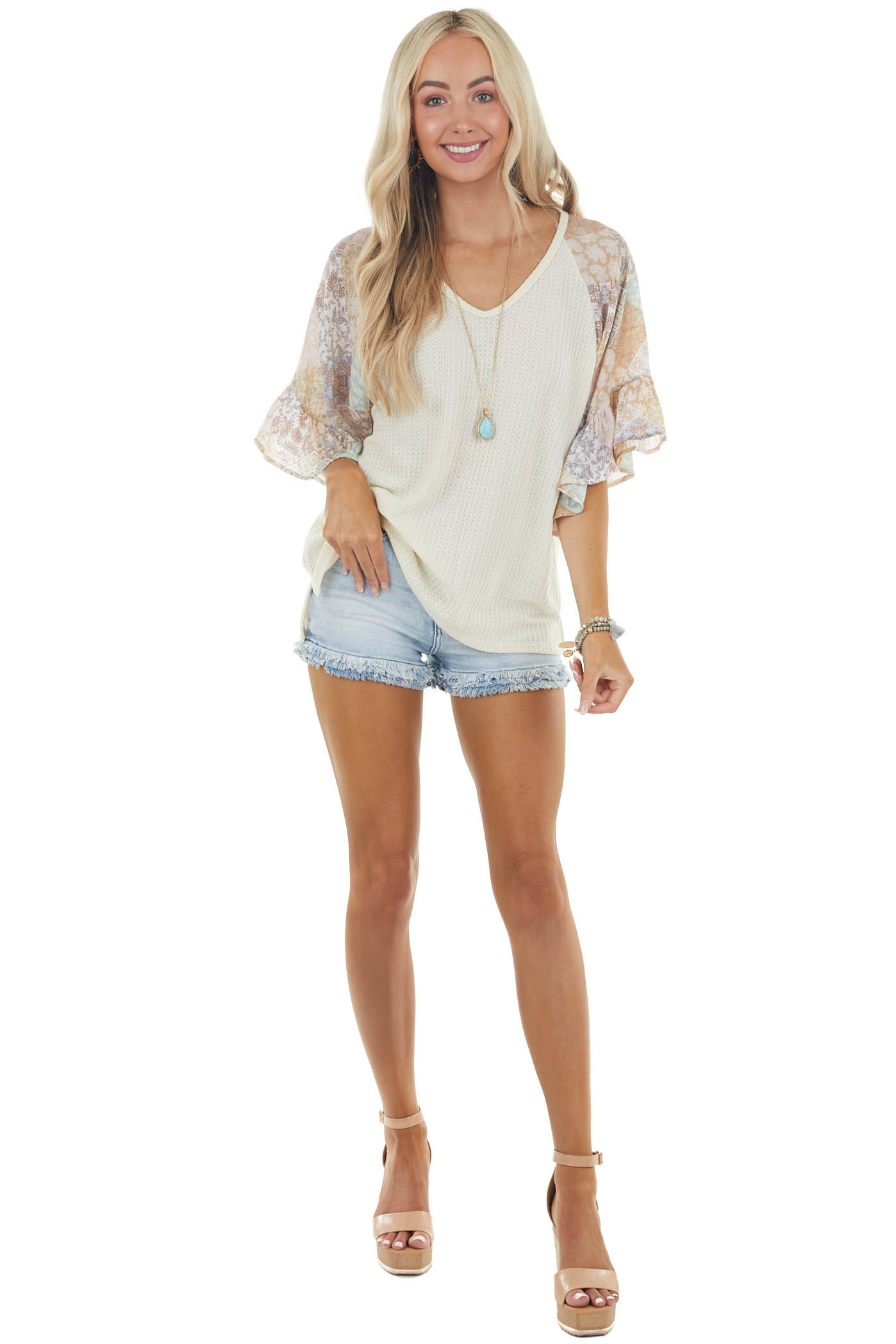 Cream Waffle Knit Top with Short Contrasting Sleeves
