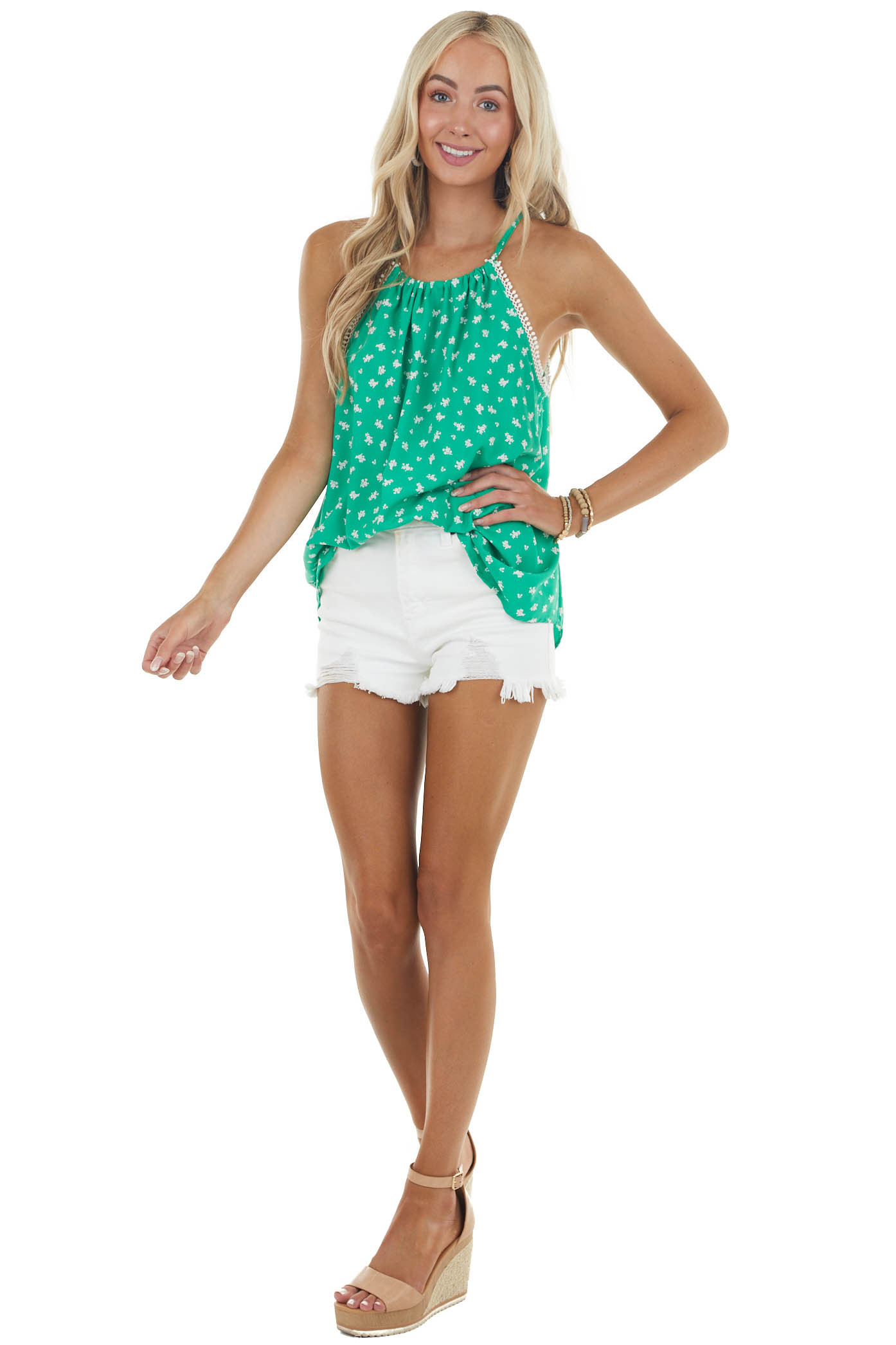 Kelly Green Floral Halter Neck Blouse with Lace Detail