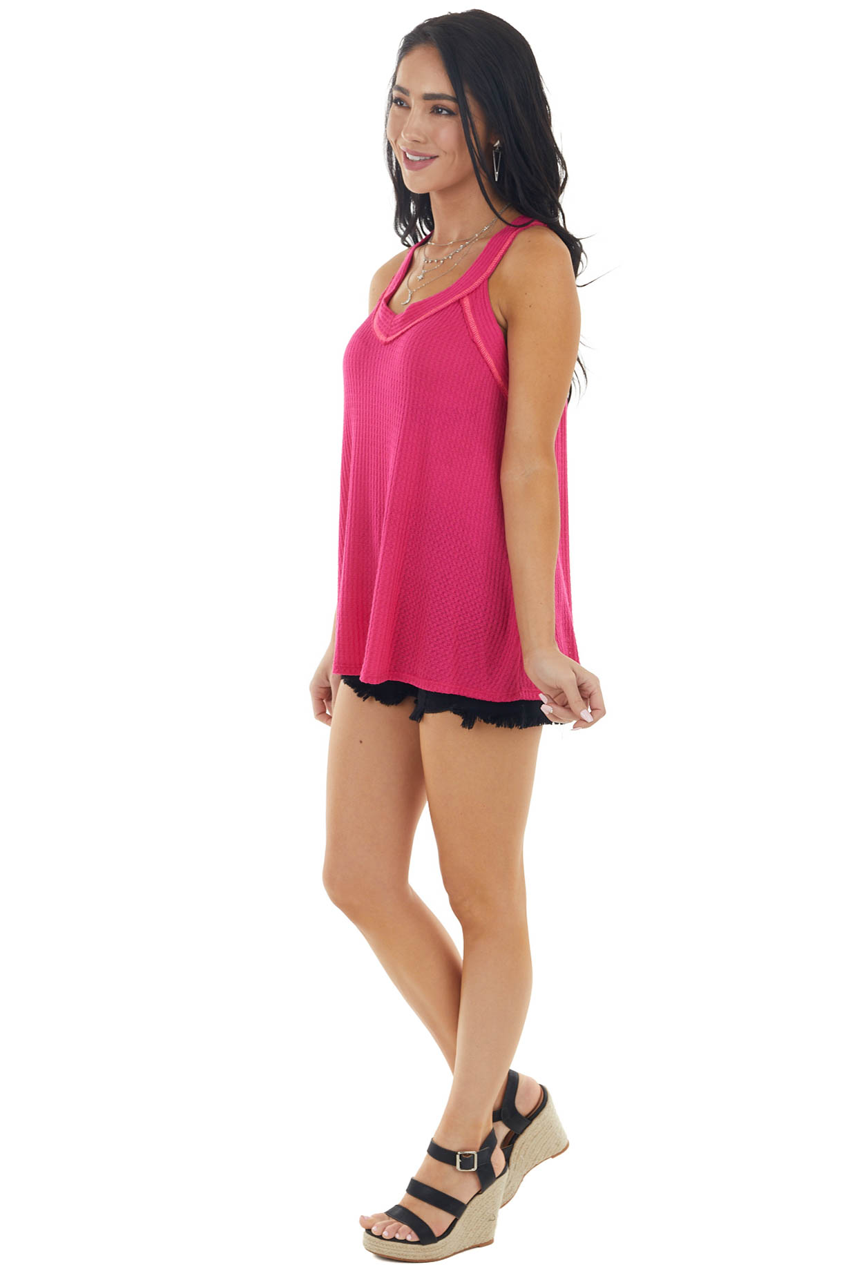 Deep Magenta Sleeveless Exposed Stitch Waffle Knit Top