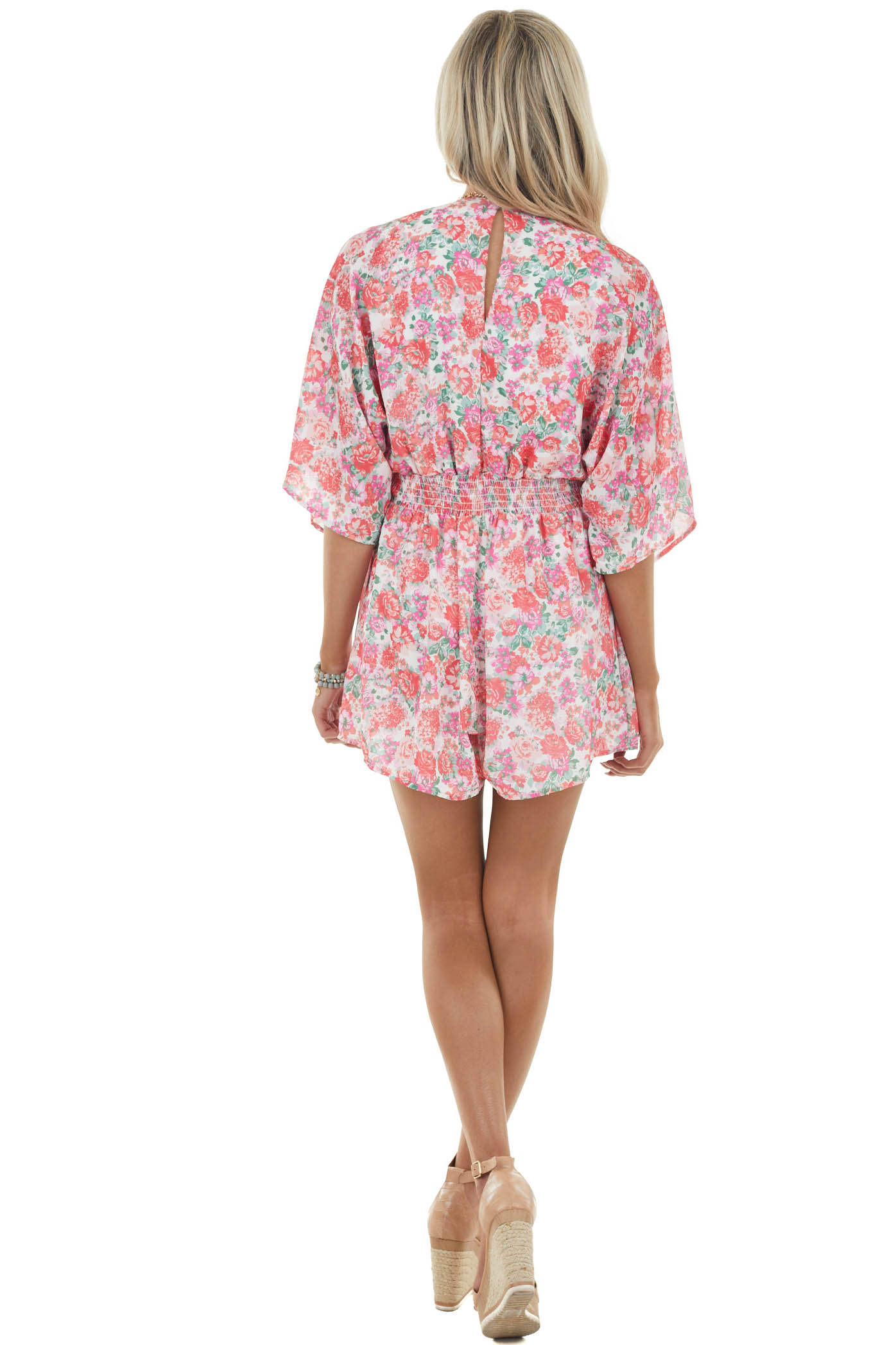 Crimson and Pearl Floral Print Woven Romper with Tie Detail