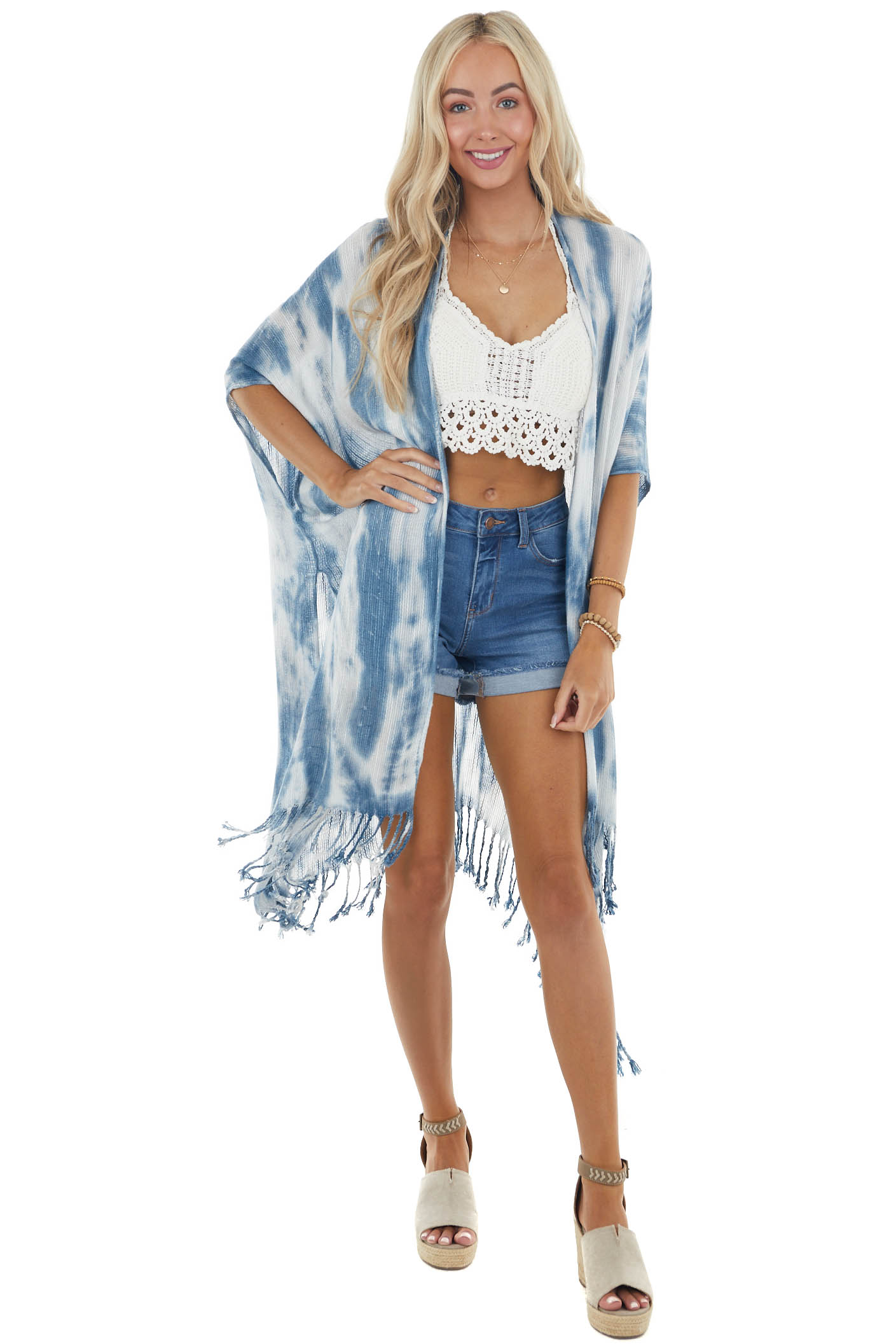 Ocean and Cloud Tie Dye Soft Woven Shawl with Fringe Details