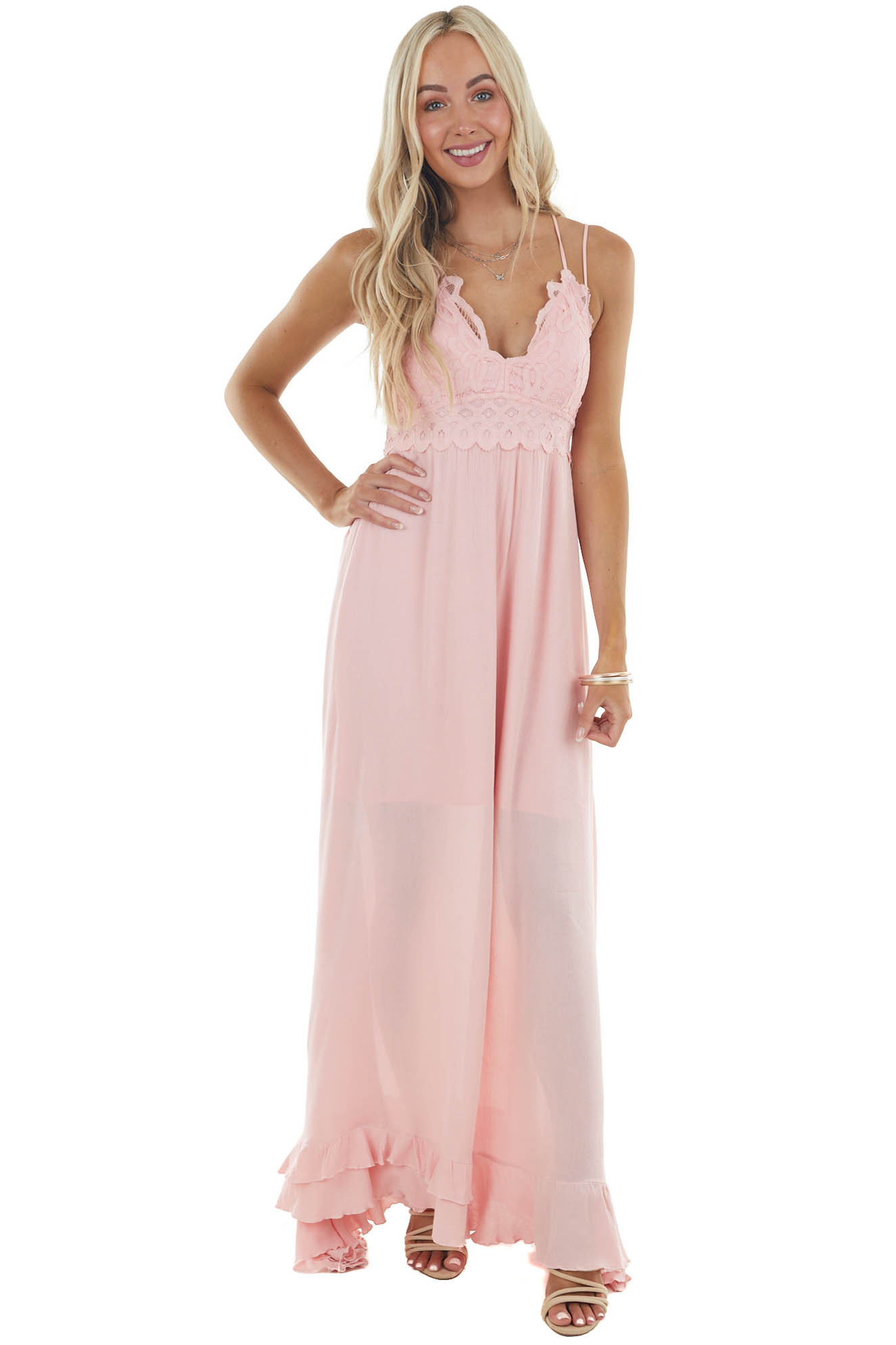 Cherry Blossom Sleeveless Woven Maxi Dress with Lace Detail