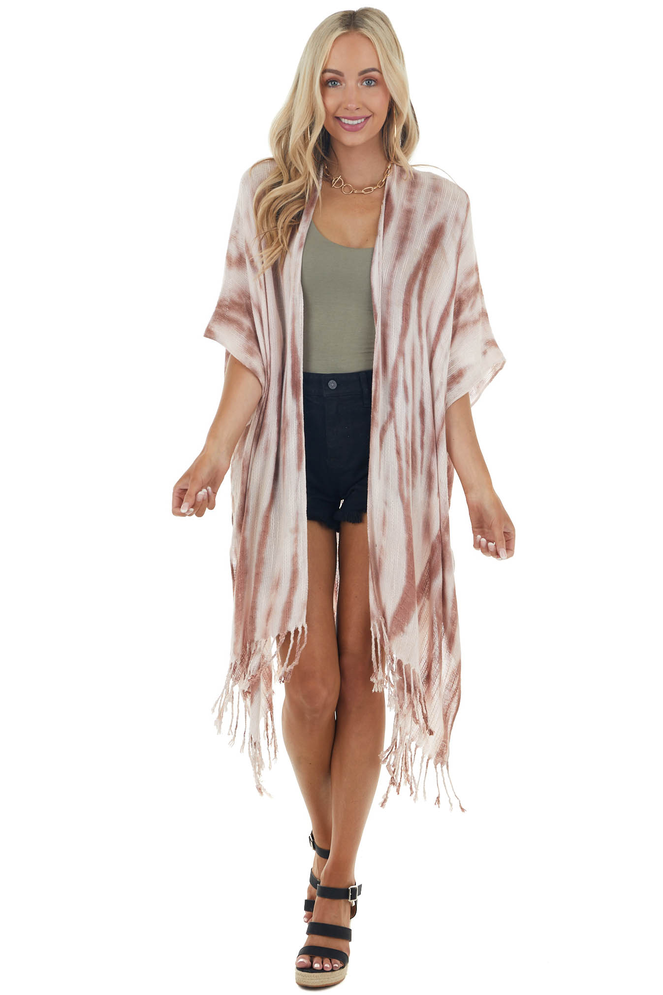 Blush and Berry Tie Dye Soft Woven Shawl with Fringe Details