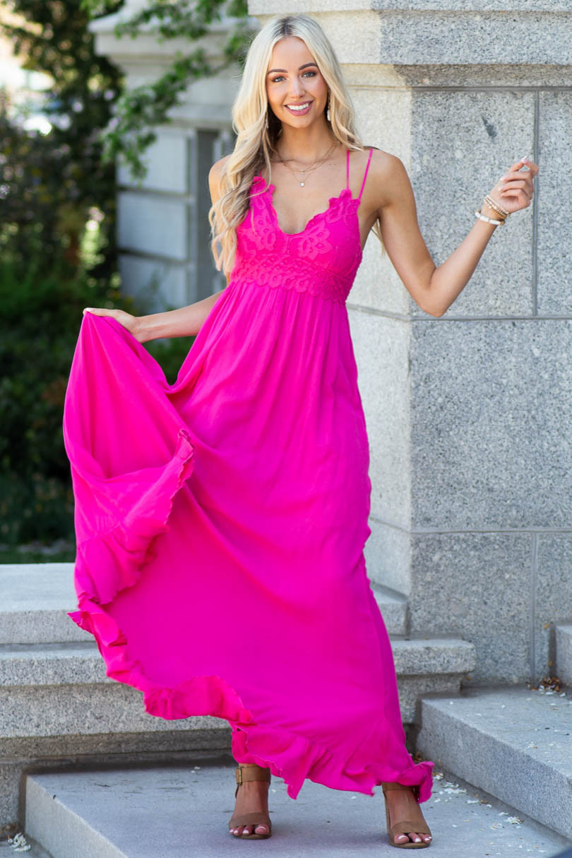Magenta Sleeveless Woven Maxi Dress with Lace Detail