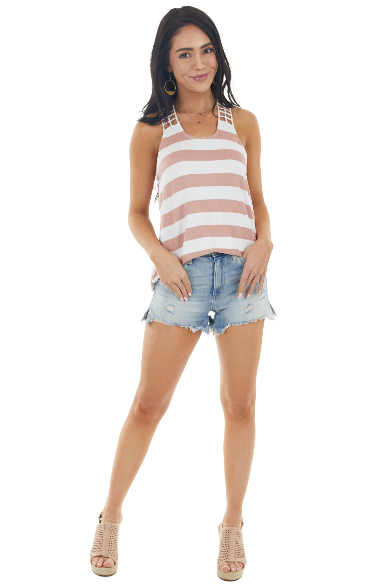 Dusty Rose and Ivory Striped Ladder Racerback Knit Tank