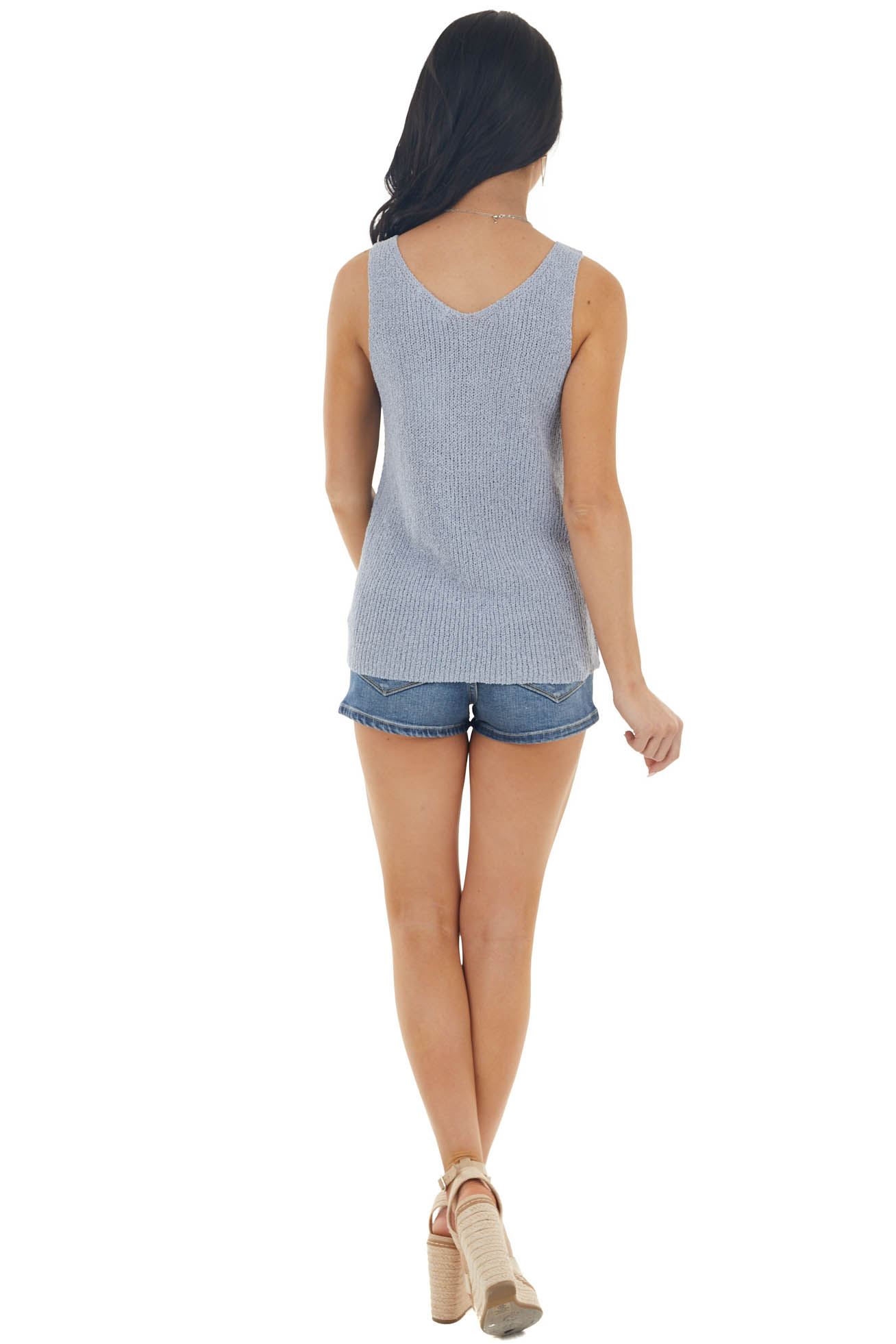 Powder Blue Sleeveless Loose Knit Tank Top with V Neckline