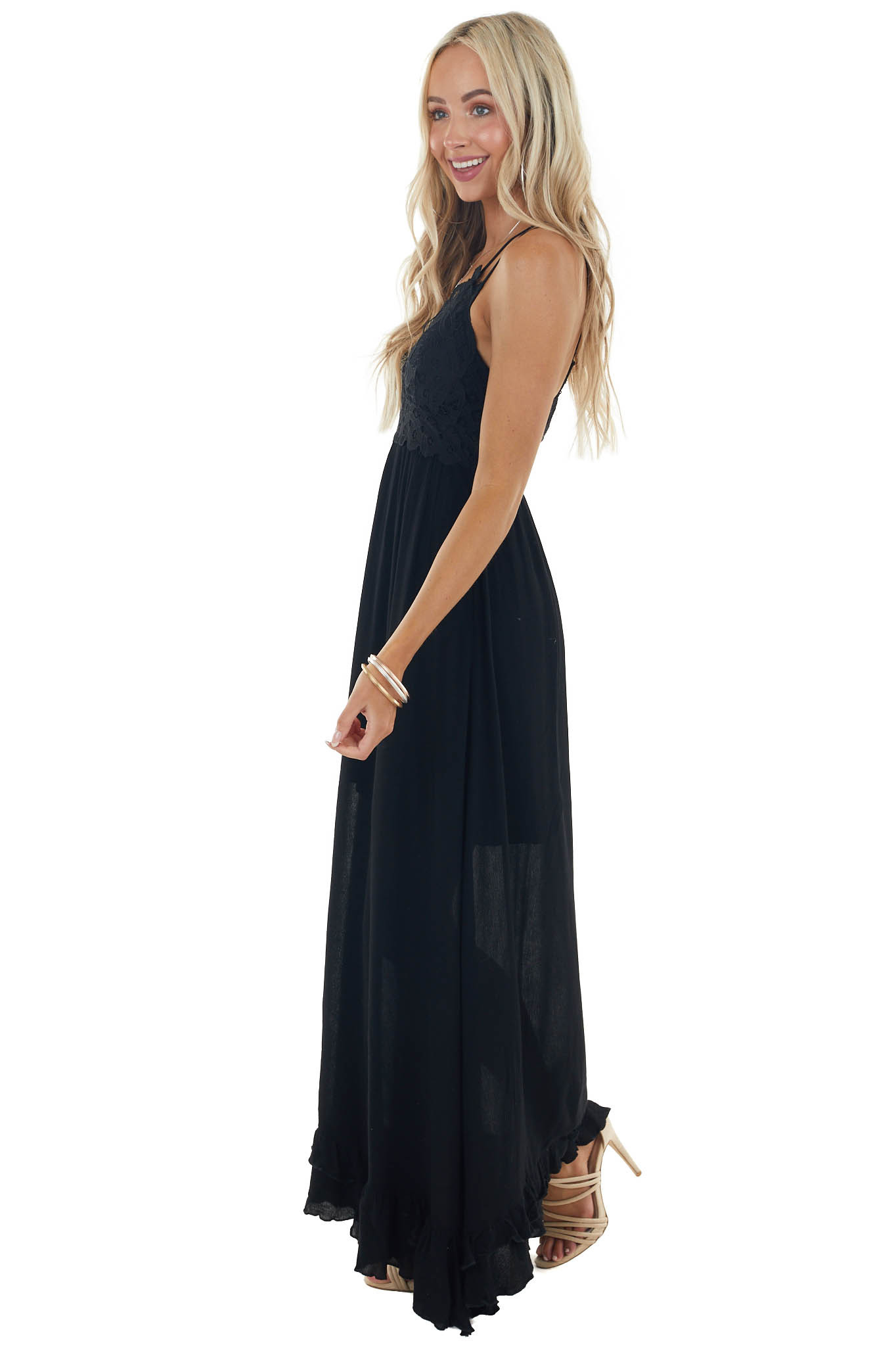 Black Sleeveless Woven Maxi Dress with Lace Detail