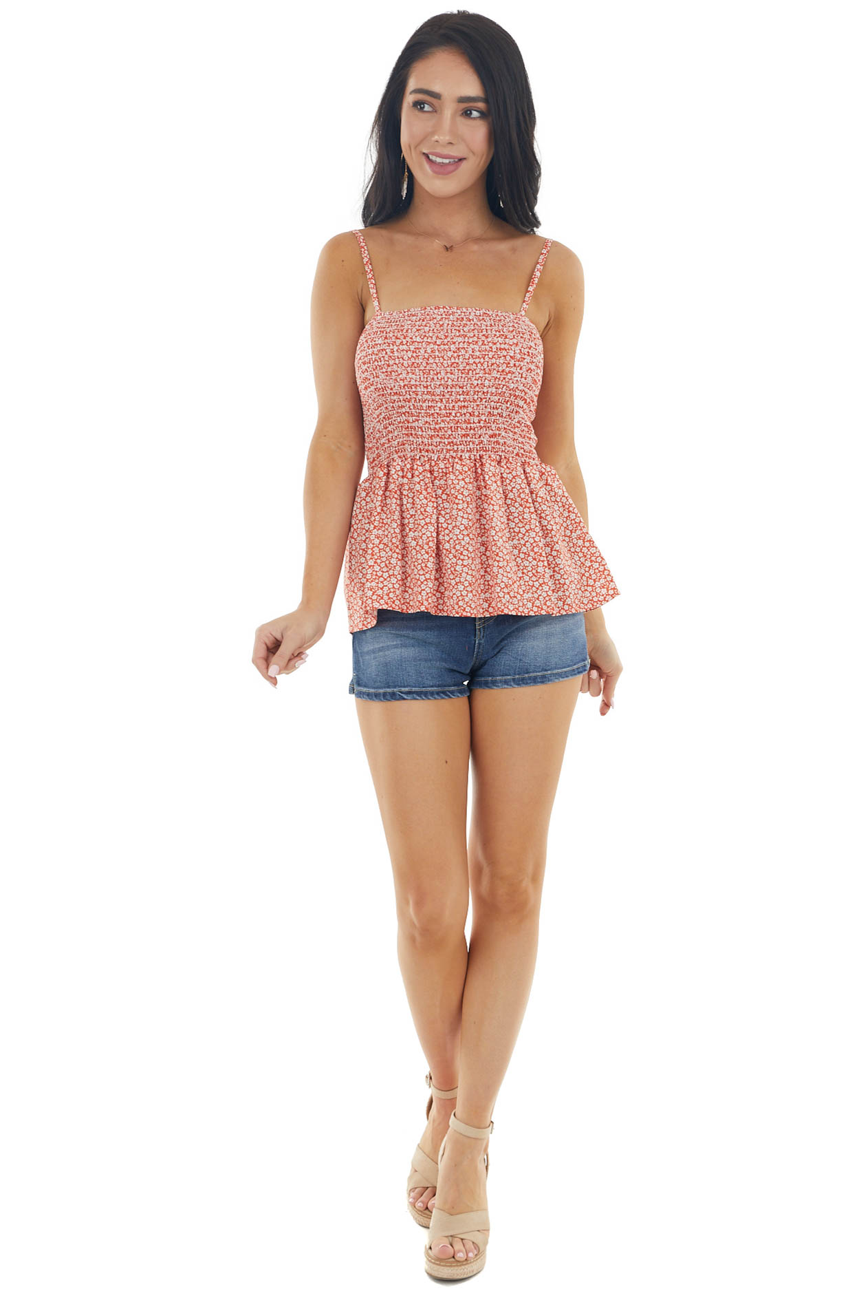 Brick Red Ditsy Floral Print Tank Top with Smocked Detail