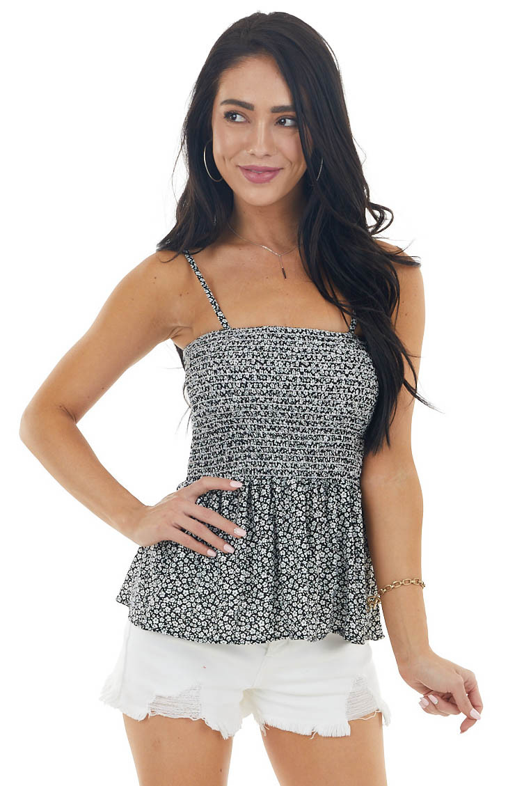 Black Ditsy Floral Print Sleeveless Top with Smocked Detail