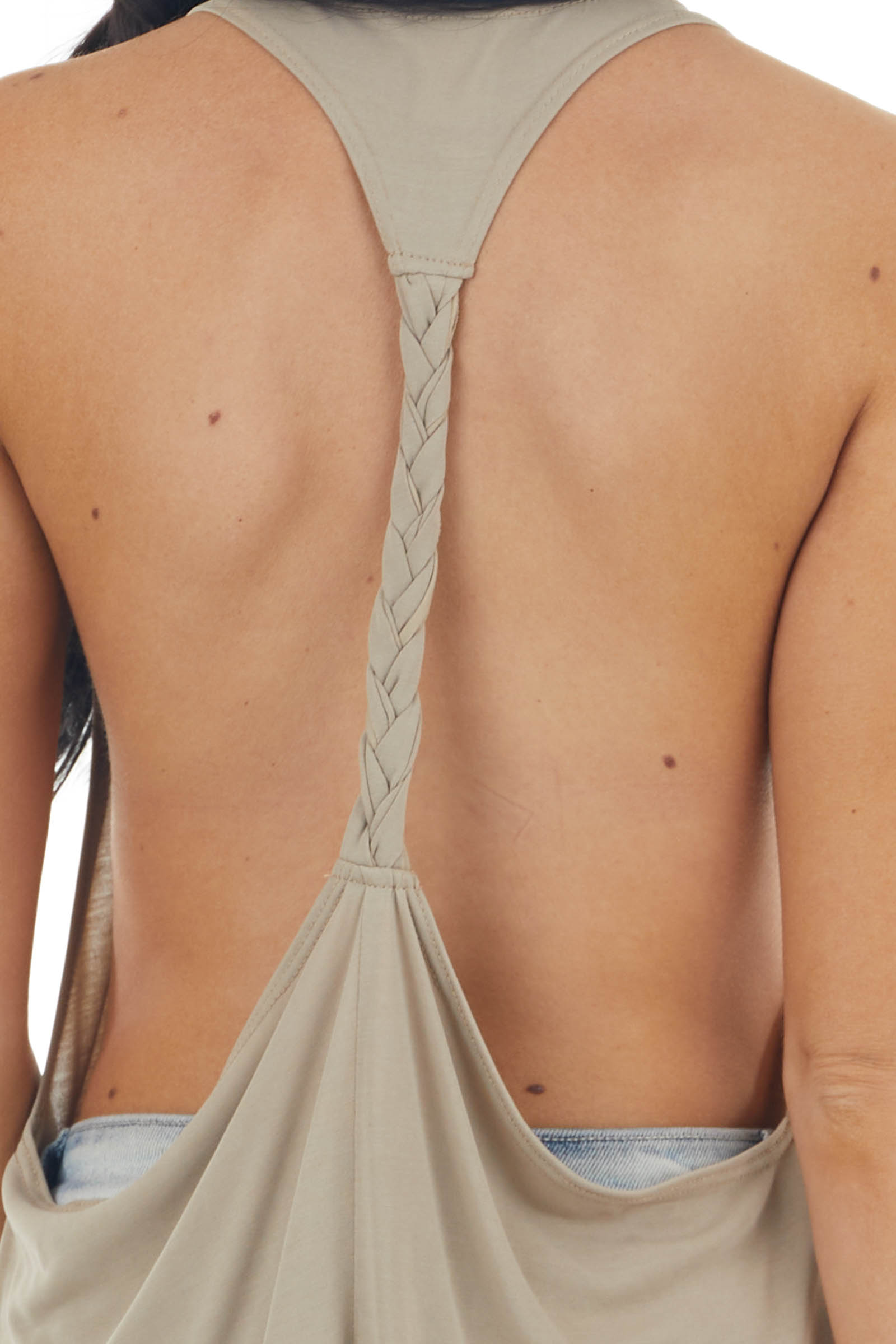 Oatmeal Sleeveless Tank Top with Braided Racerback Detail