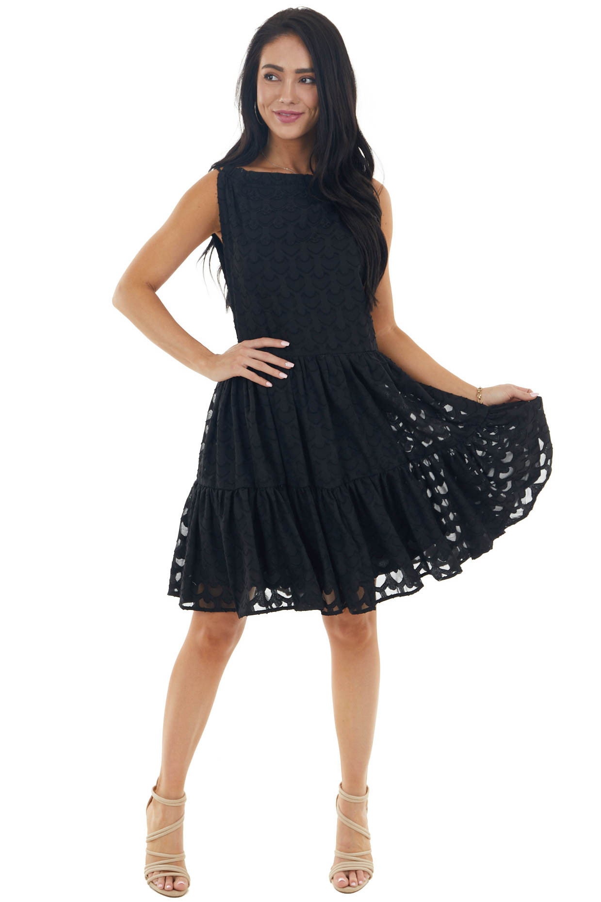 Black Jacquard Textured Tiered Dress with Halter Neckline