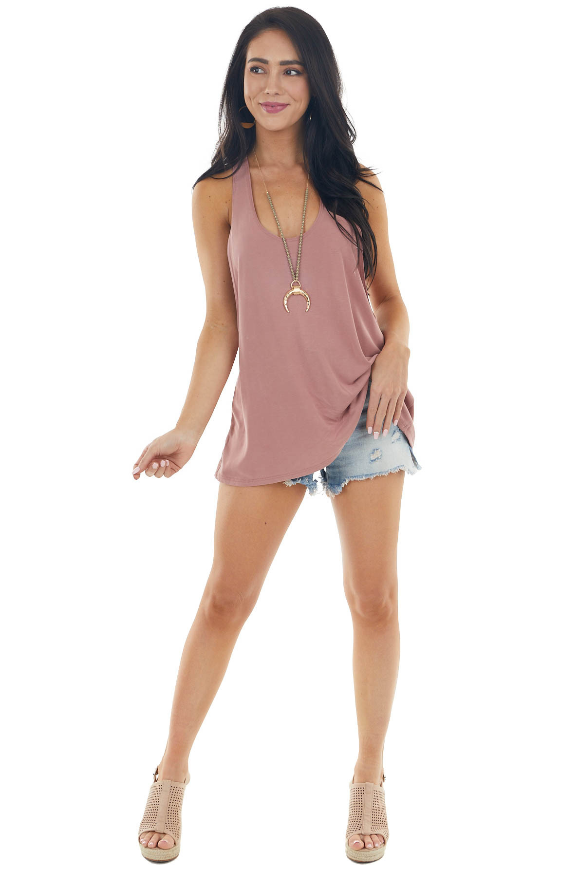 Dusty Rose Sleeveless Tank Top with Braided Racerback Detail