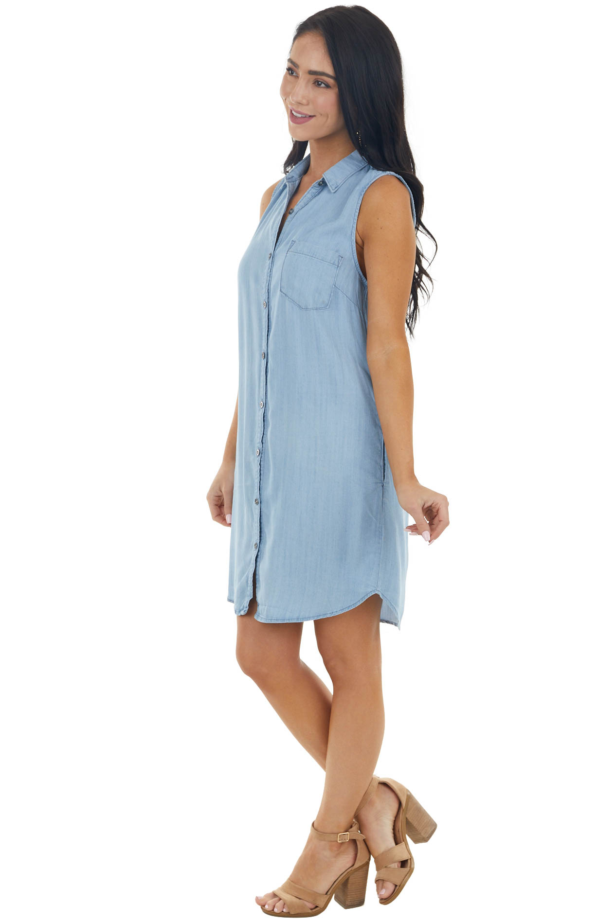 Light Wash Chambray Sleeveless Button Up Dress with Pocket