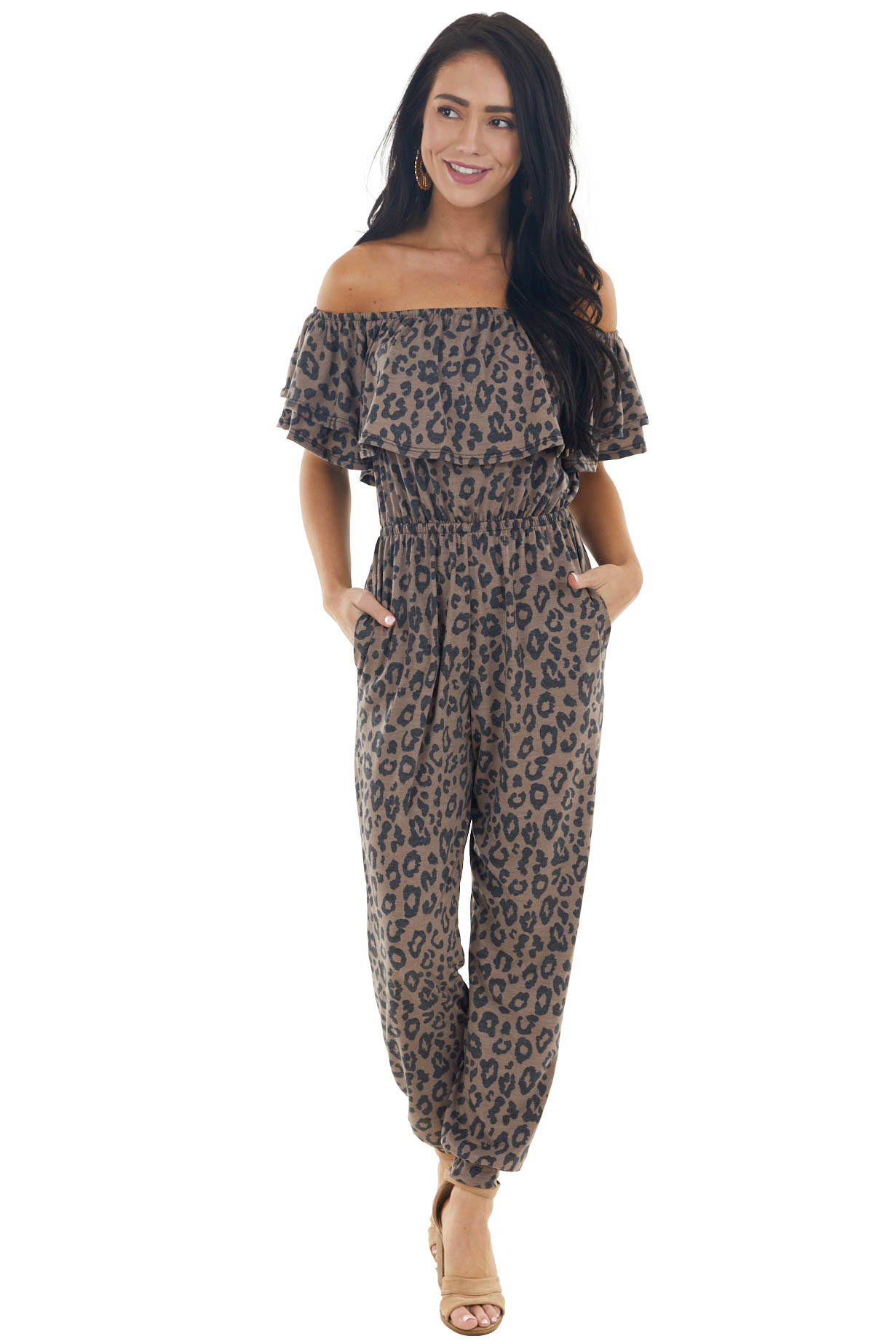 Cocoa and Charcoal Leopard Print Knit Jumpsuit with Pockets