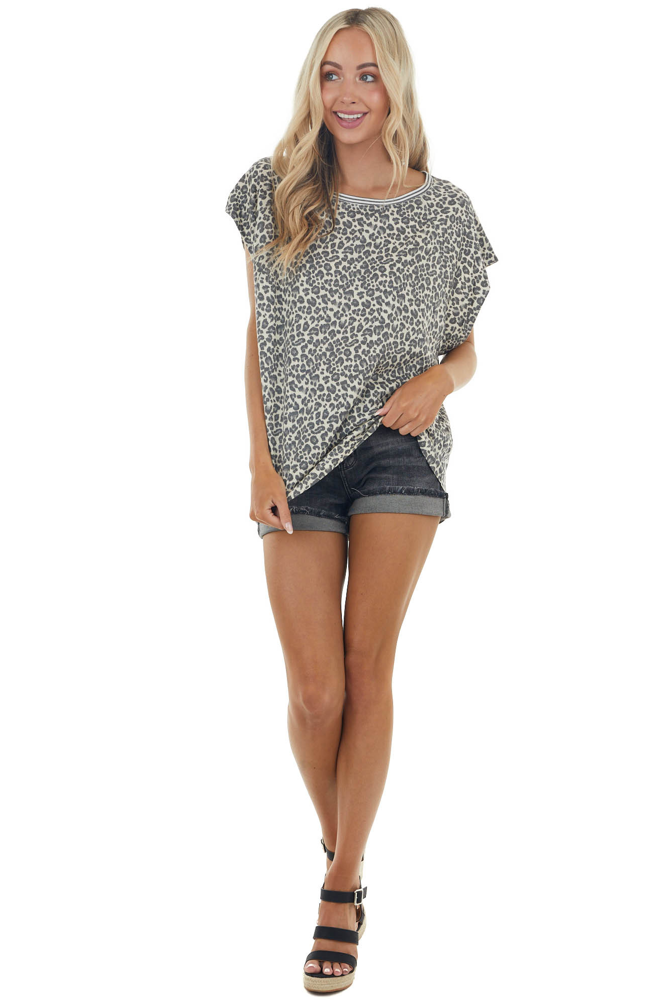 Sand Leopard Print Short Sleeve Knit Top with Striped Detail