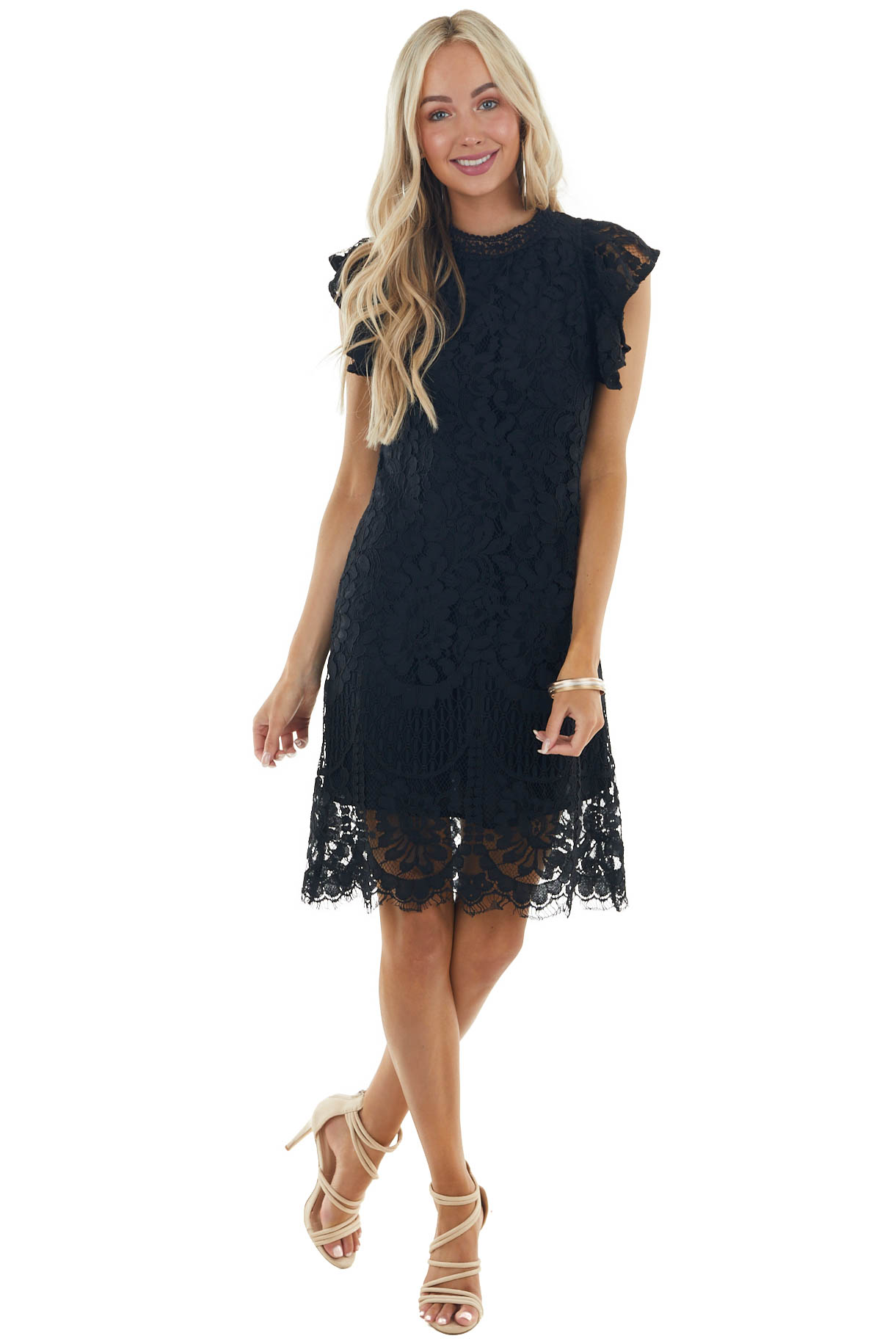 Black Short Ruffle Sleeve Mock Neckline Short Lace Dress