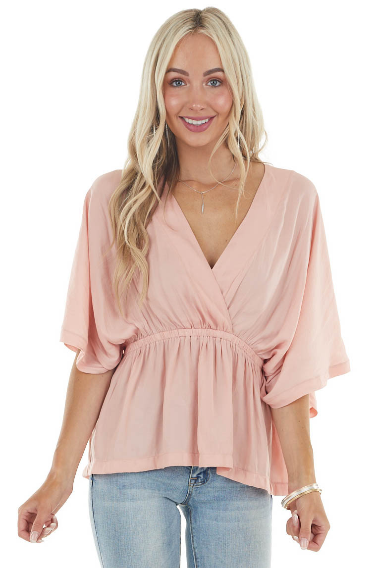 Light Coral V Neck Surplice Blouse with Elastic Waistband