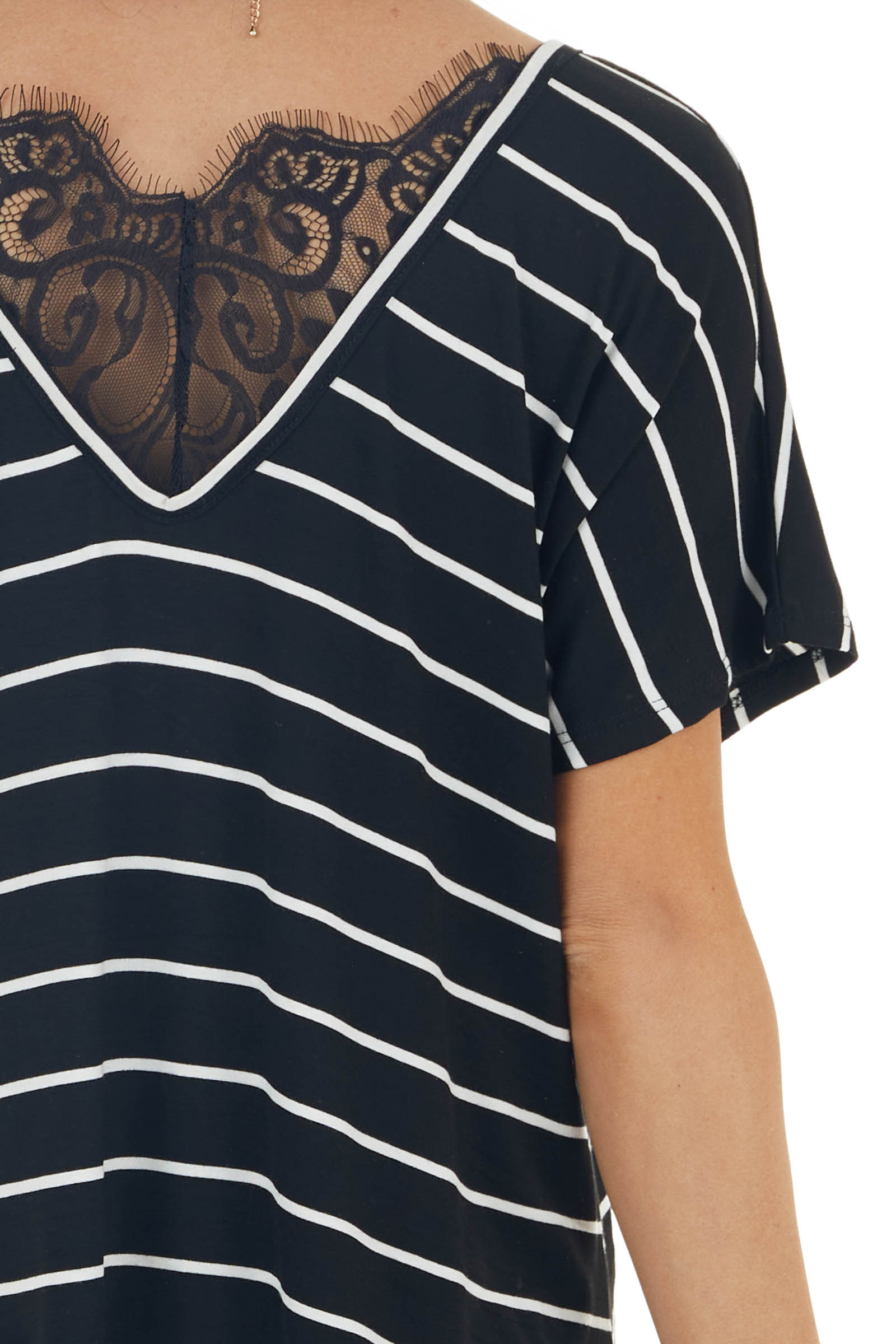 Black Striped Short Sleeve Knit Top with Lace Detail
