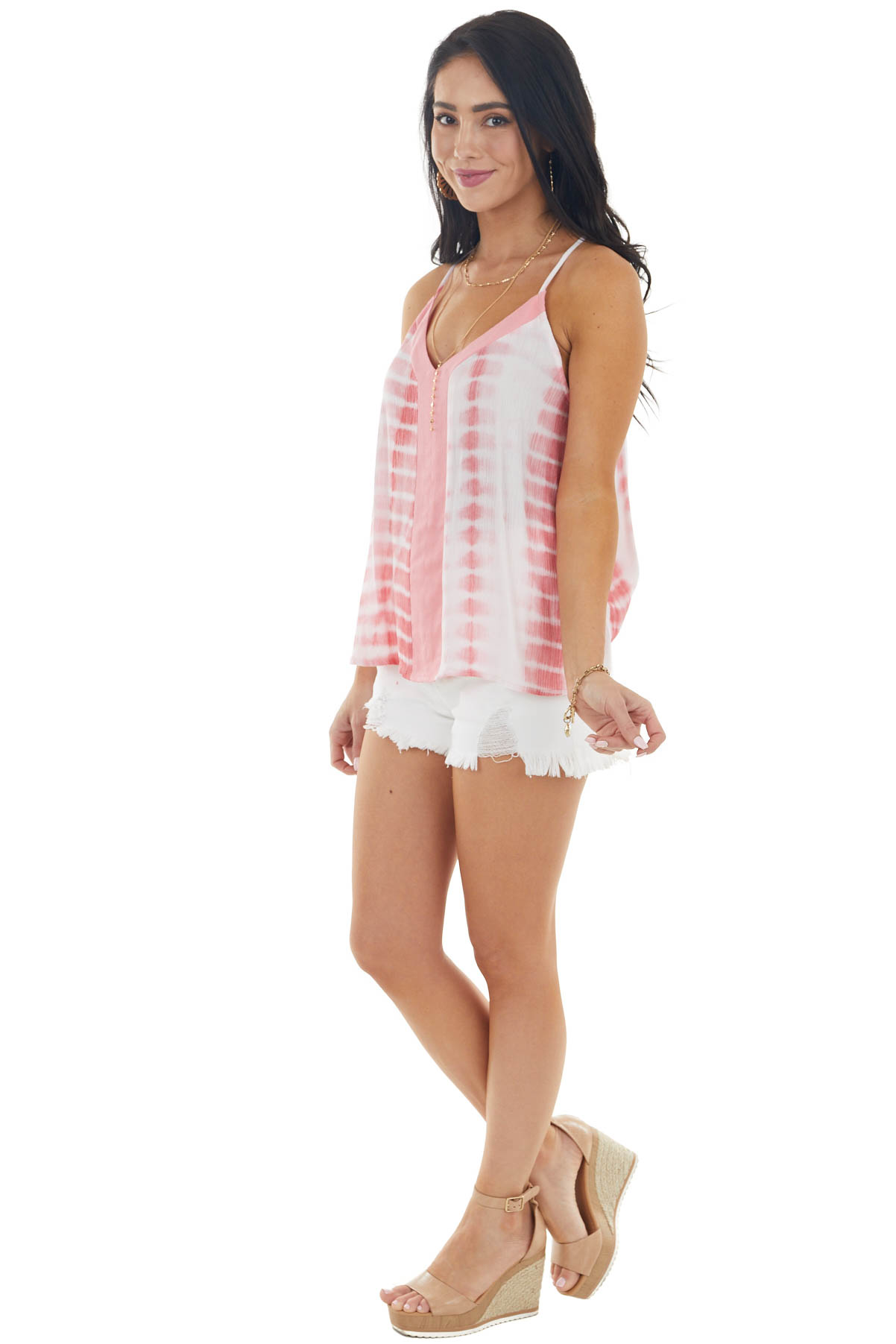 Punch Pink Tie Dye Sleeveless Cami Top with Solid Contrast