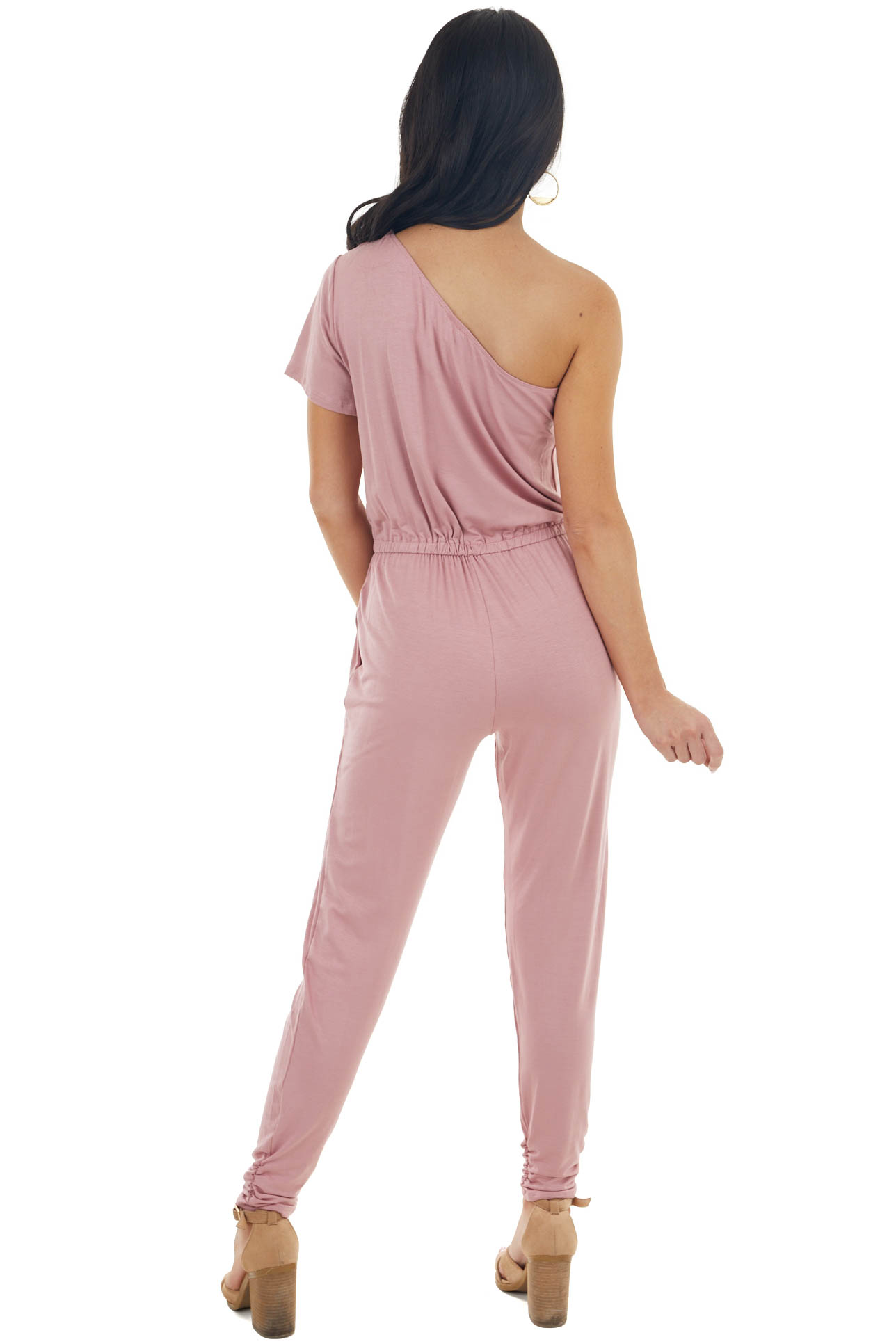 Dusty Blush One Shoulder Jumpsuit with Ruching Details
