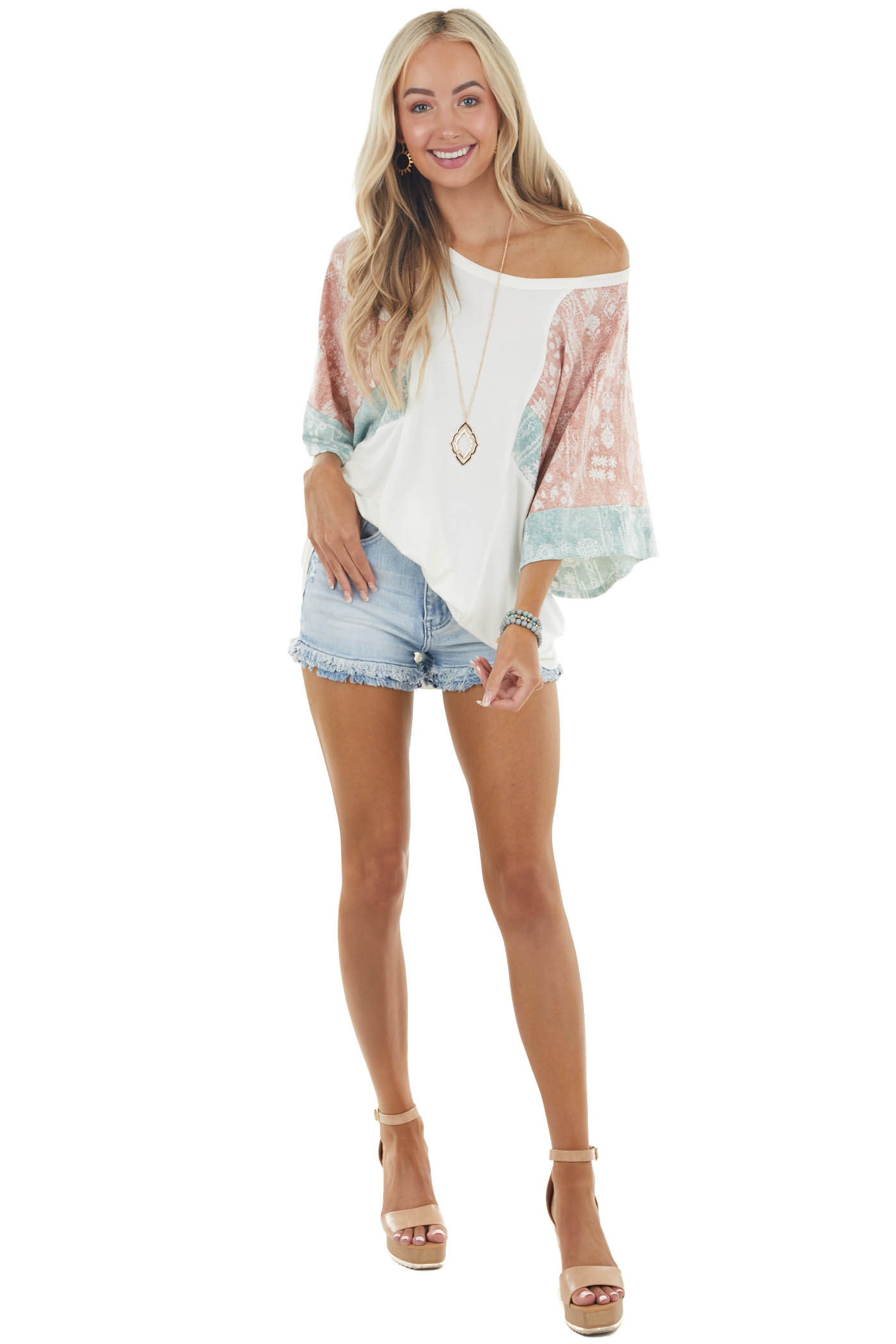 Ivory Short Kimono Sleeve Knit Top with Multiprint Details