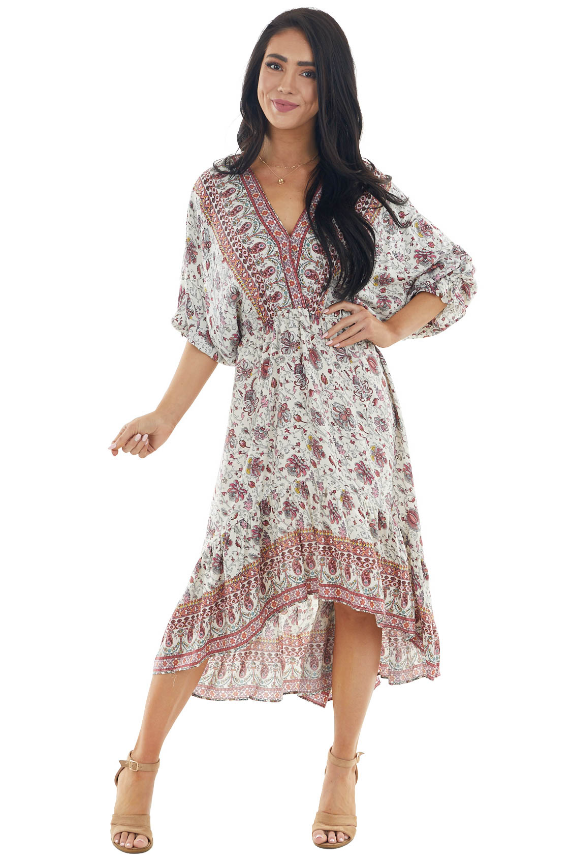 Vanilla Printed 3/4 Sleeve Midi Dress with Surplice Neckline