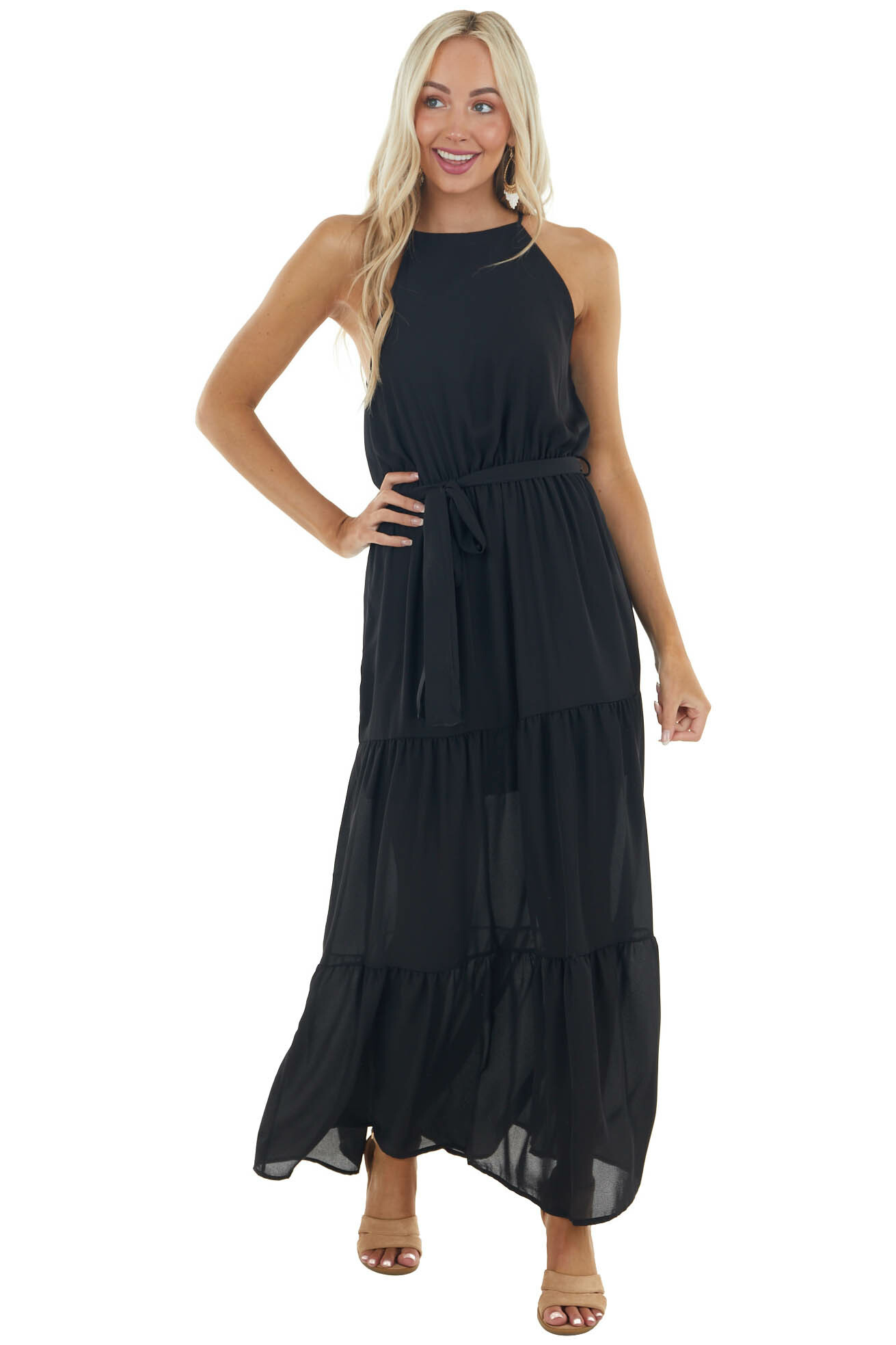 Black Halter Neck Tiered Woven Maxi Dress with Keyhole Back