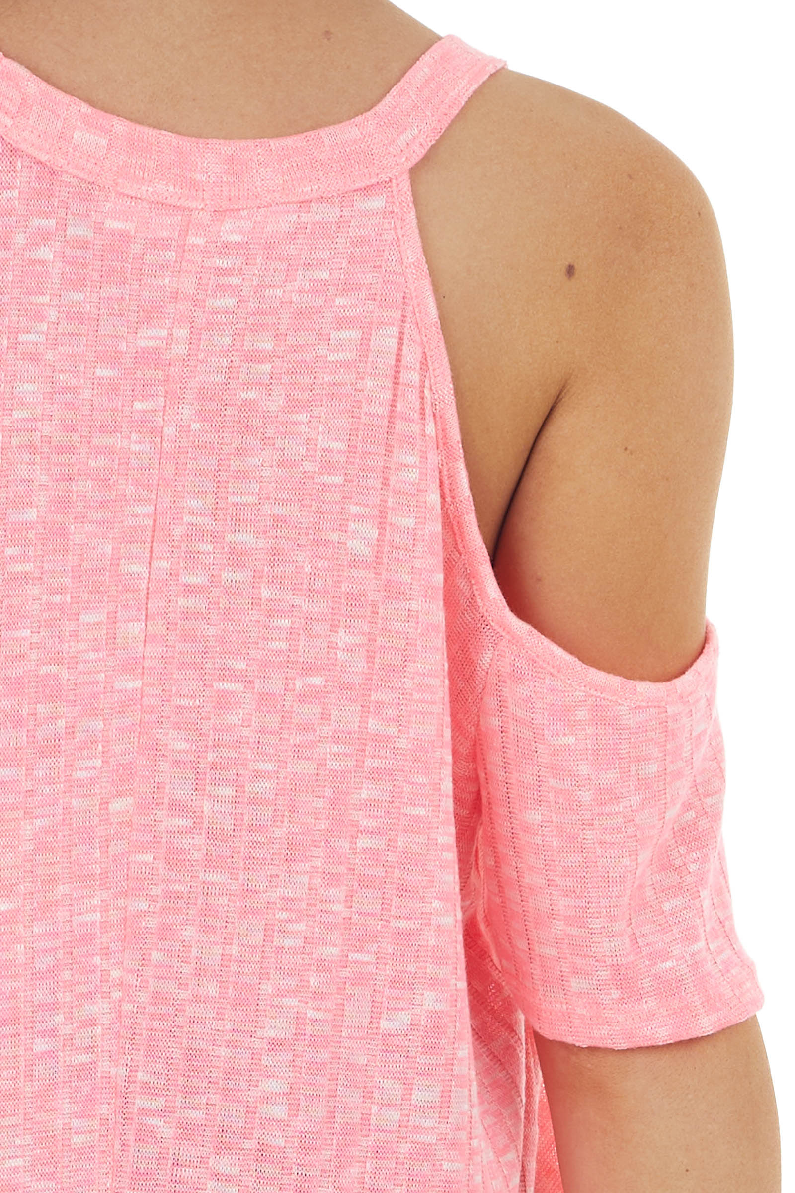 Neon Pink Two Tone Ribbed Cold Shoulder Short Sleeve Top