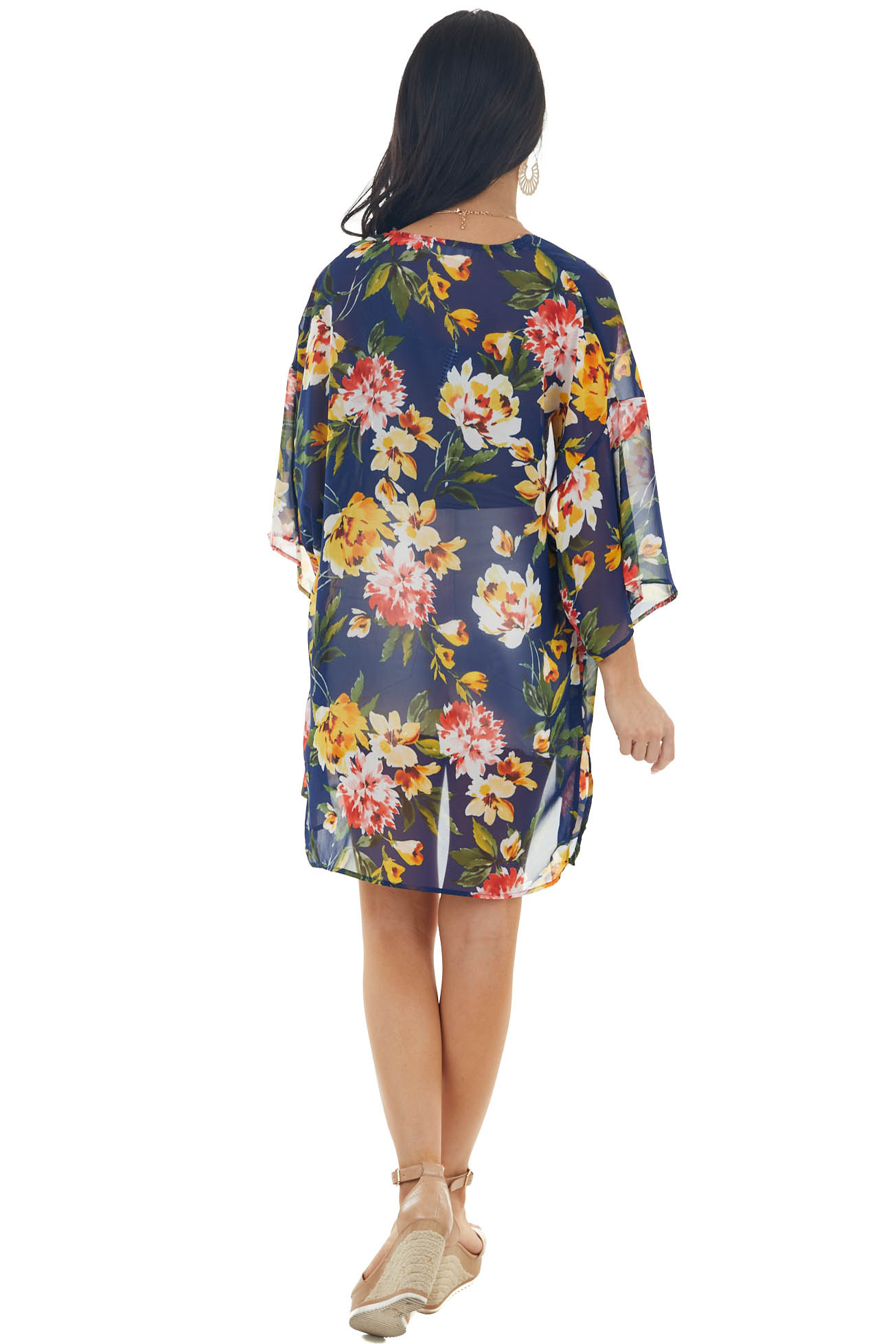 Catalina Blue Floral Print Lightweight Open Front Kimono