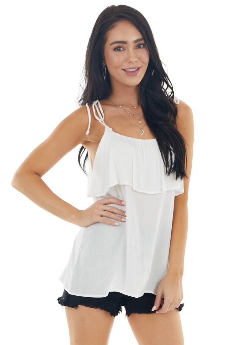 Off White Sleeveless Tank Top with Ruffle Overlay Detail