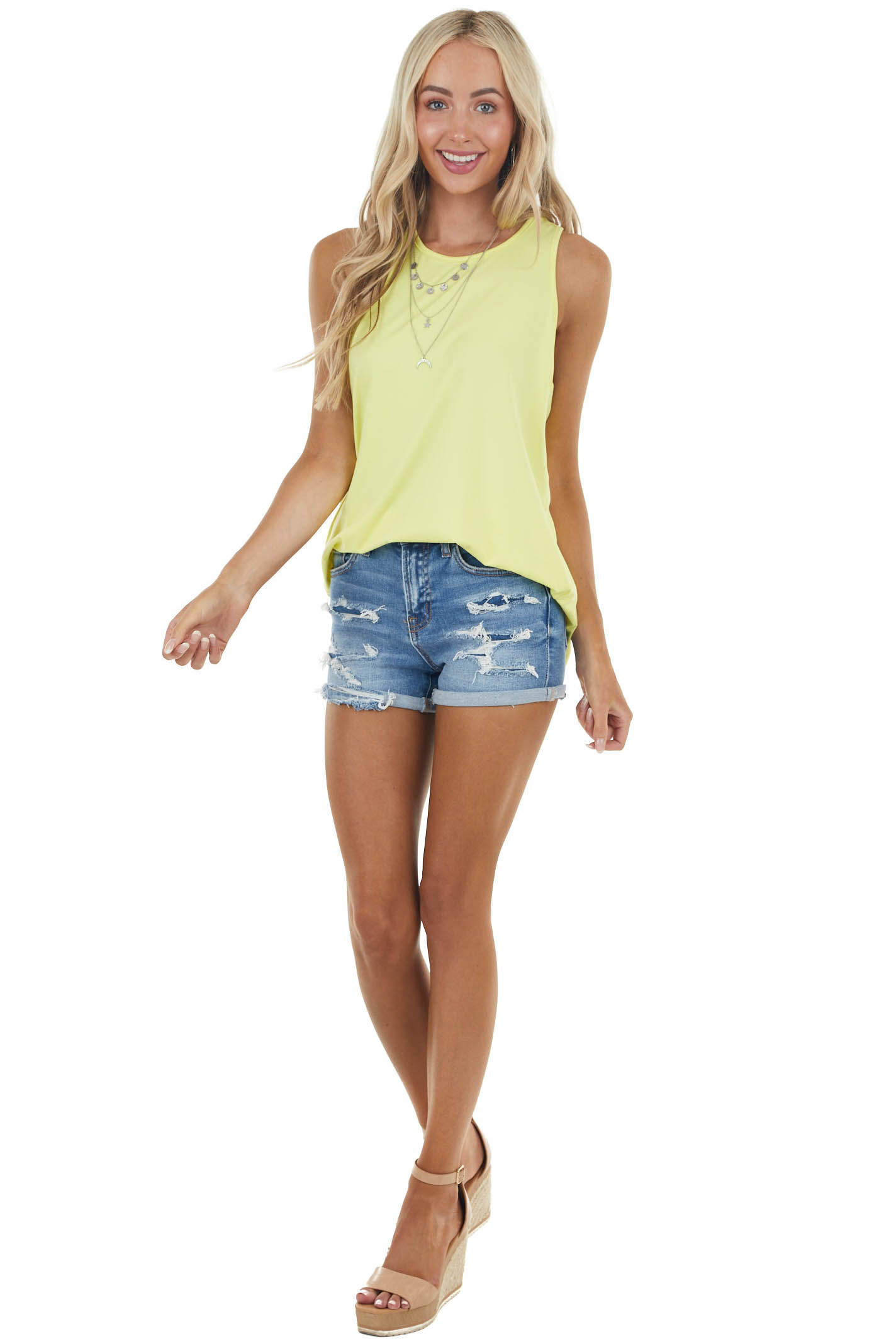Sunshine Twisted Racerback Stretchy Knit Tank Top