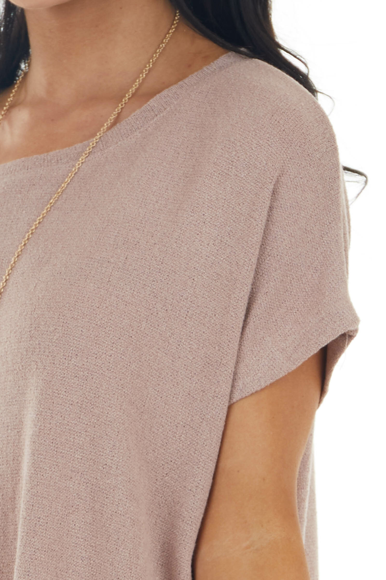 Rose Taupe Short Dolman Sleeve Lightweight Stretchy Knit Top